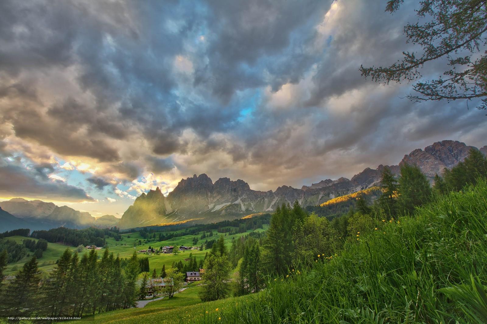 Скачать обои Dolomites,  Italy,  закат,  горы бесплатно для рабочего стола в разрешении 2500x1664 — картинка №618410