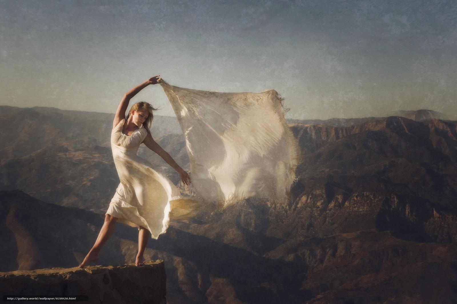 Скачать обои девушка,  платье,  шаль,  настроение бесплатно для рабочего стола в разрешении 4256x2832 — картинка №618926