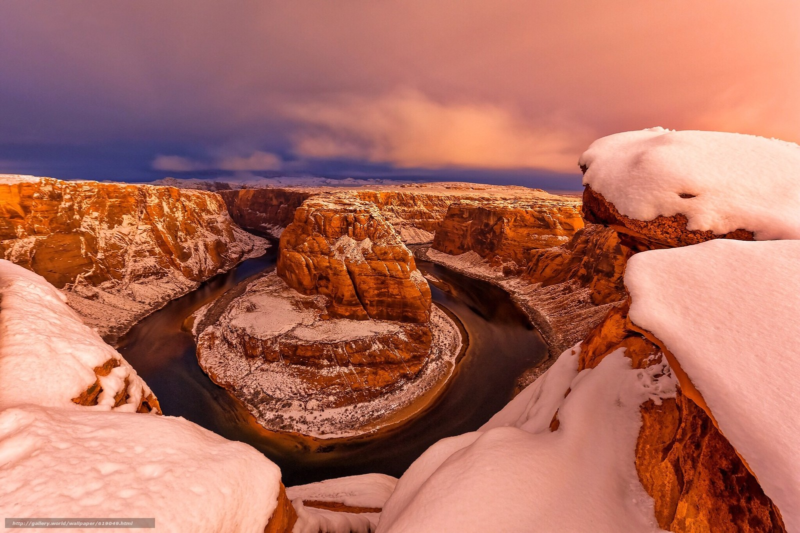 Скачать обои Horseshoe Bend, Colorado river, Glen Canyon ...