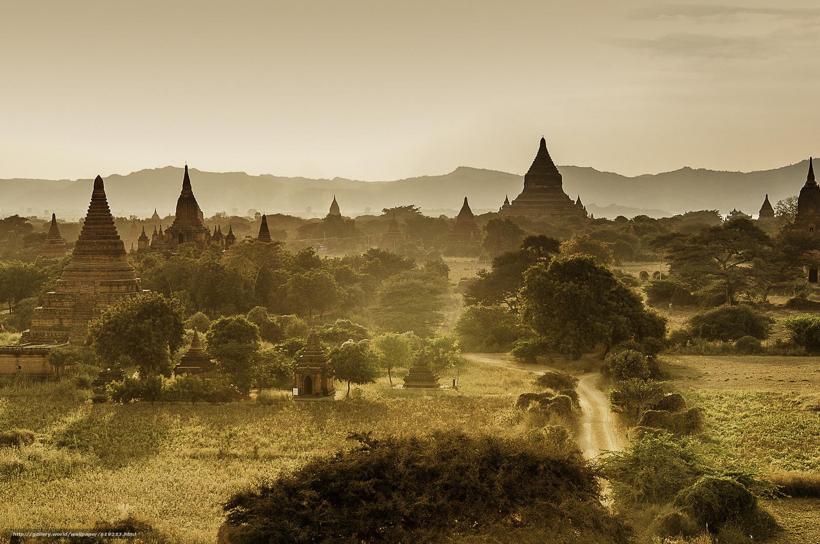 Скачать обои Мьянма,  архитектура,  горы,  закат бесплатно для рабочего стола в разрешении 2048x1360 — картинка №619233