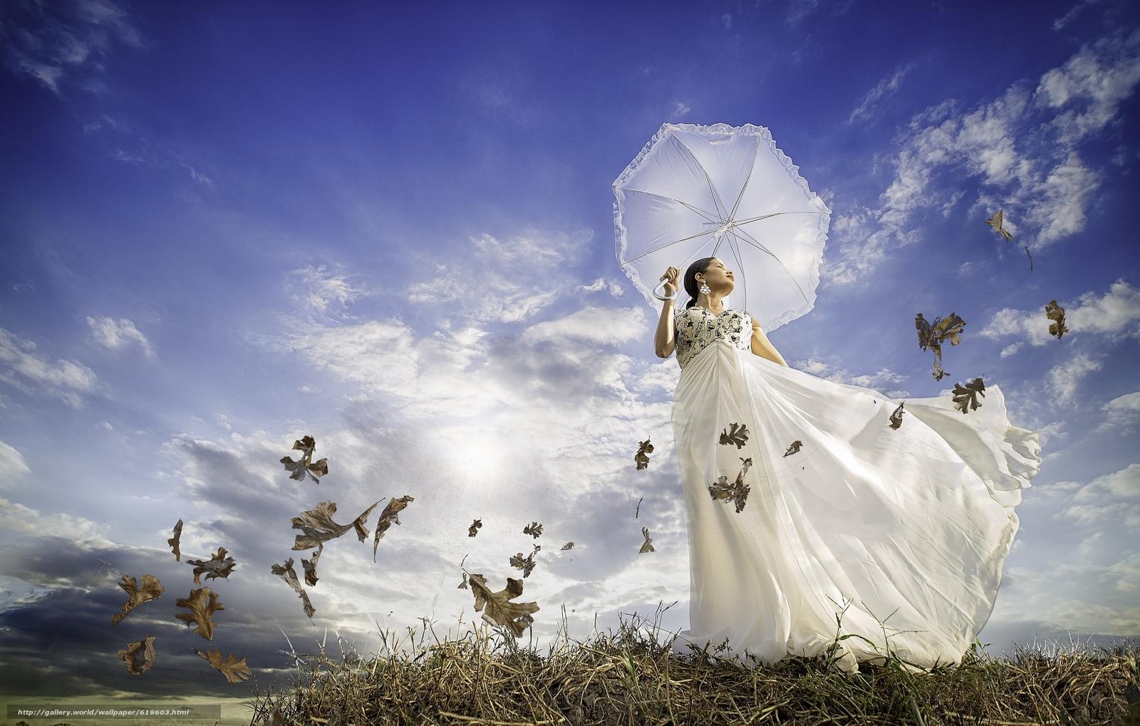 Скачать обои девушка,  платье,  зонтик,  ветер бесплатно для рабочего стола в разрешении 2560x1631 — картинка №619603