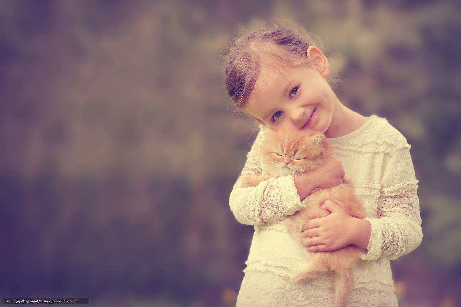 Скачать обои девочка,  рыжий котёнок,  котёнок,  друзья бесплатно для рабочего стола в разрешении 3500x2333 — картинка №619993