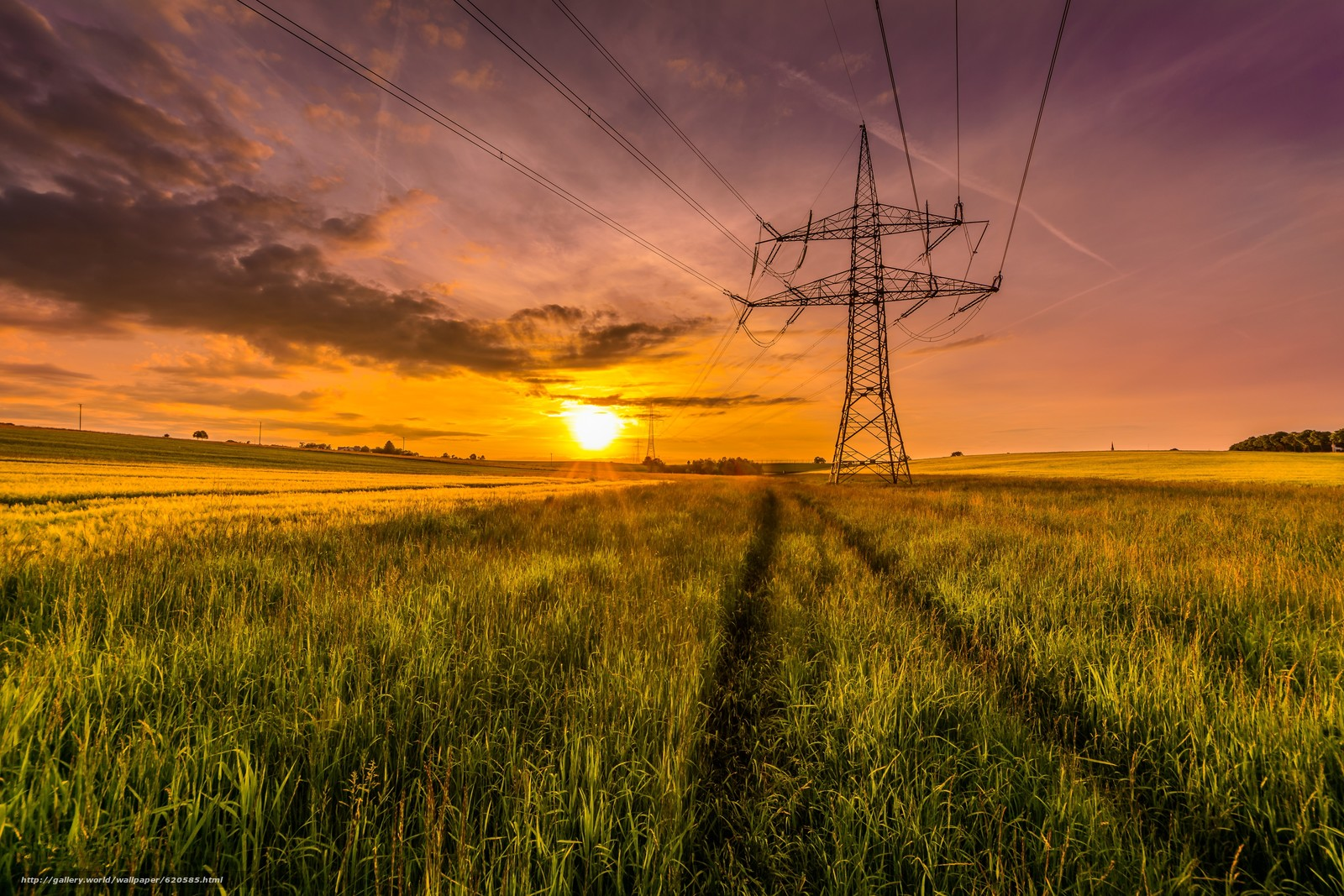 Download wallpaper sunset,  field,  tower,  wire free desktop wallpaper in the resolution 5908x3939 — picture №620585