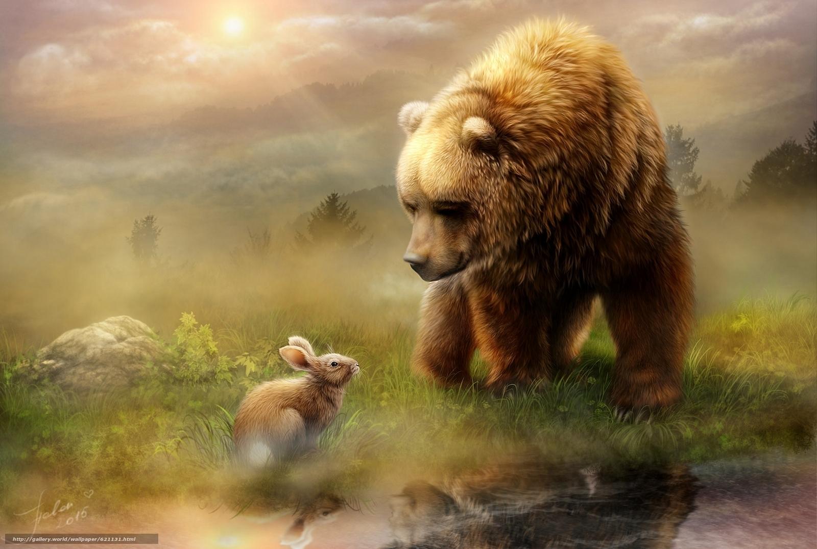 Скачать обои медведь,  кролик,  встреча,  рисунок бесплатно для рабочего стола в разрешении 1920x1290 — картинка №621131