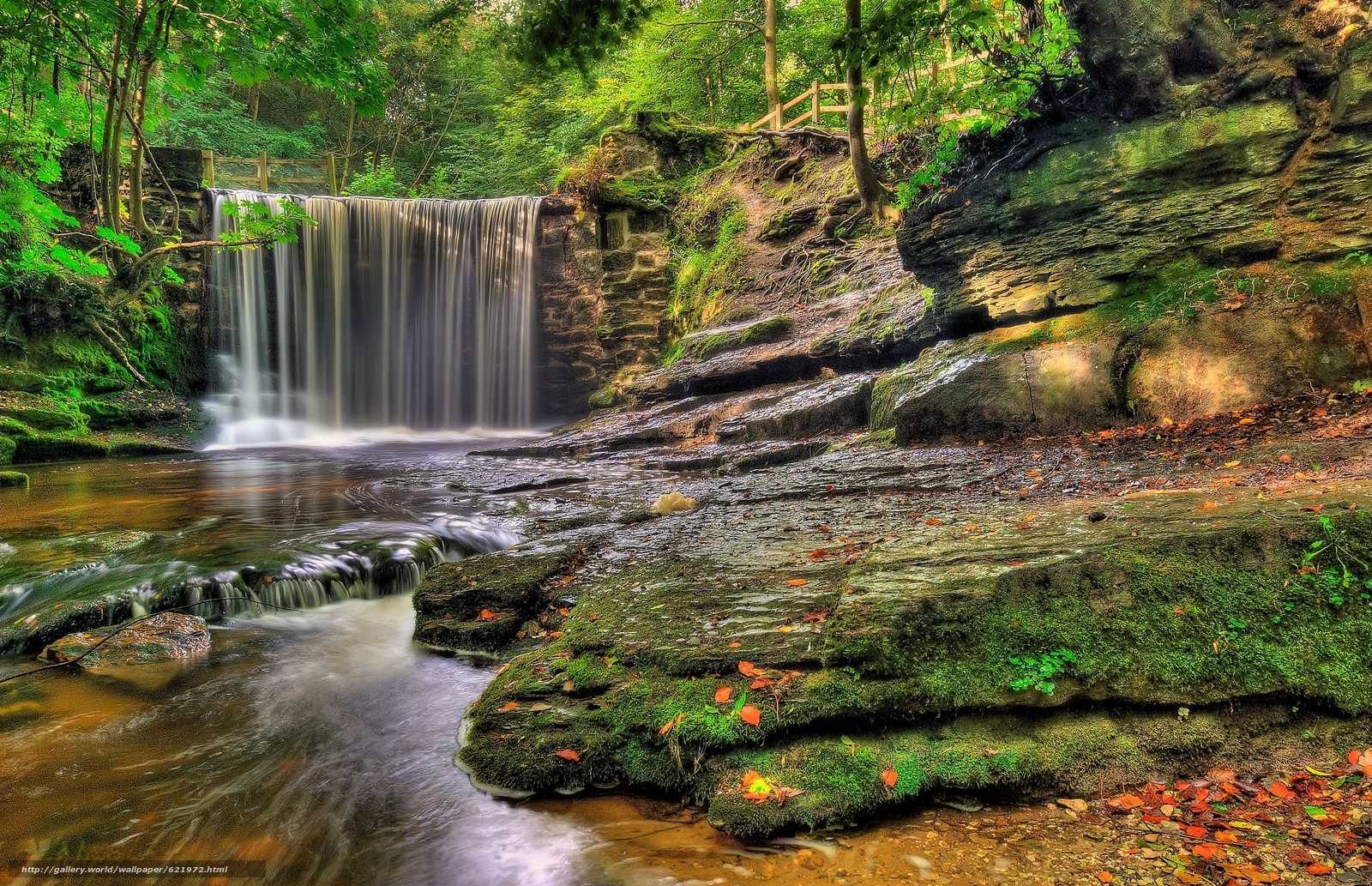 Скачать обои лес,  водопад,  речка,  скалы бесплатно для рабочего стола в разрешении 3513x2267 — картинка №621972