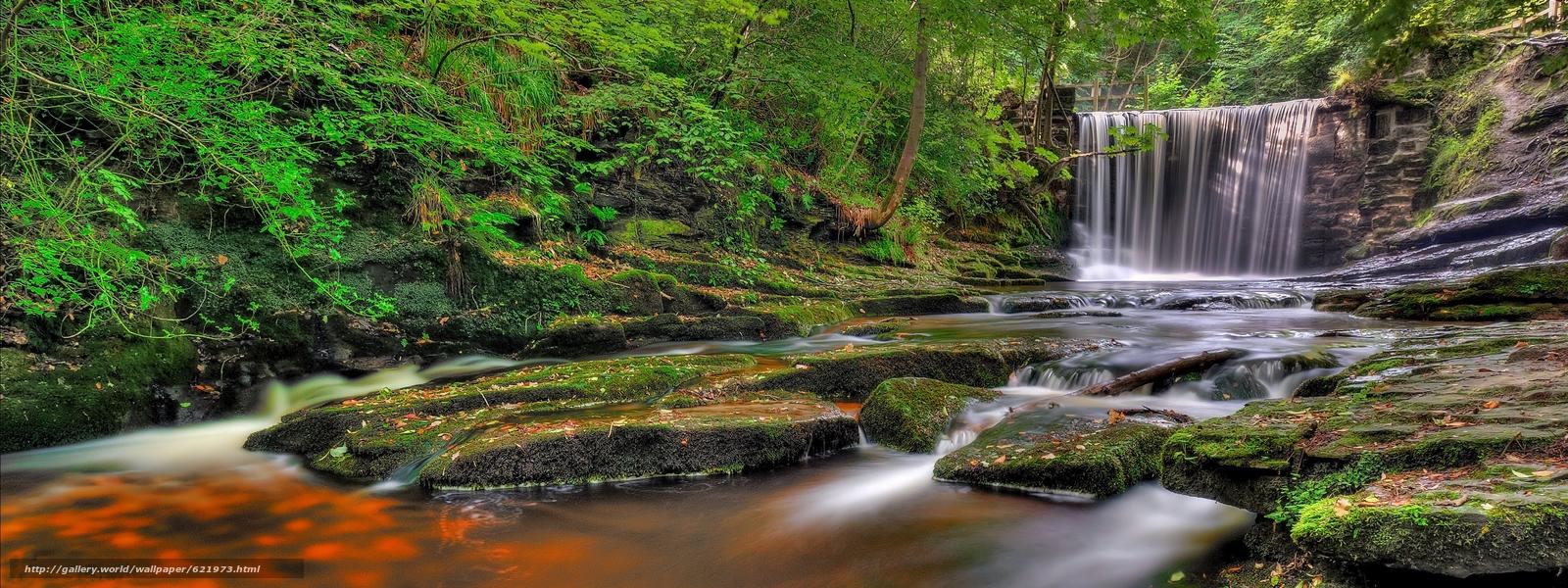 Скачать обои лес,  водопад,  речка,  скалы бесплатно для рабочего стола в разрешении 3718x1395 — картинка №621973