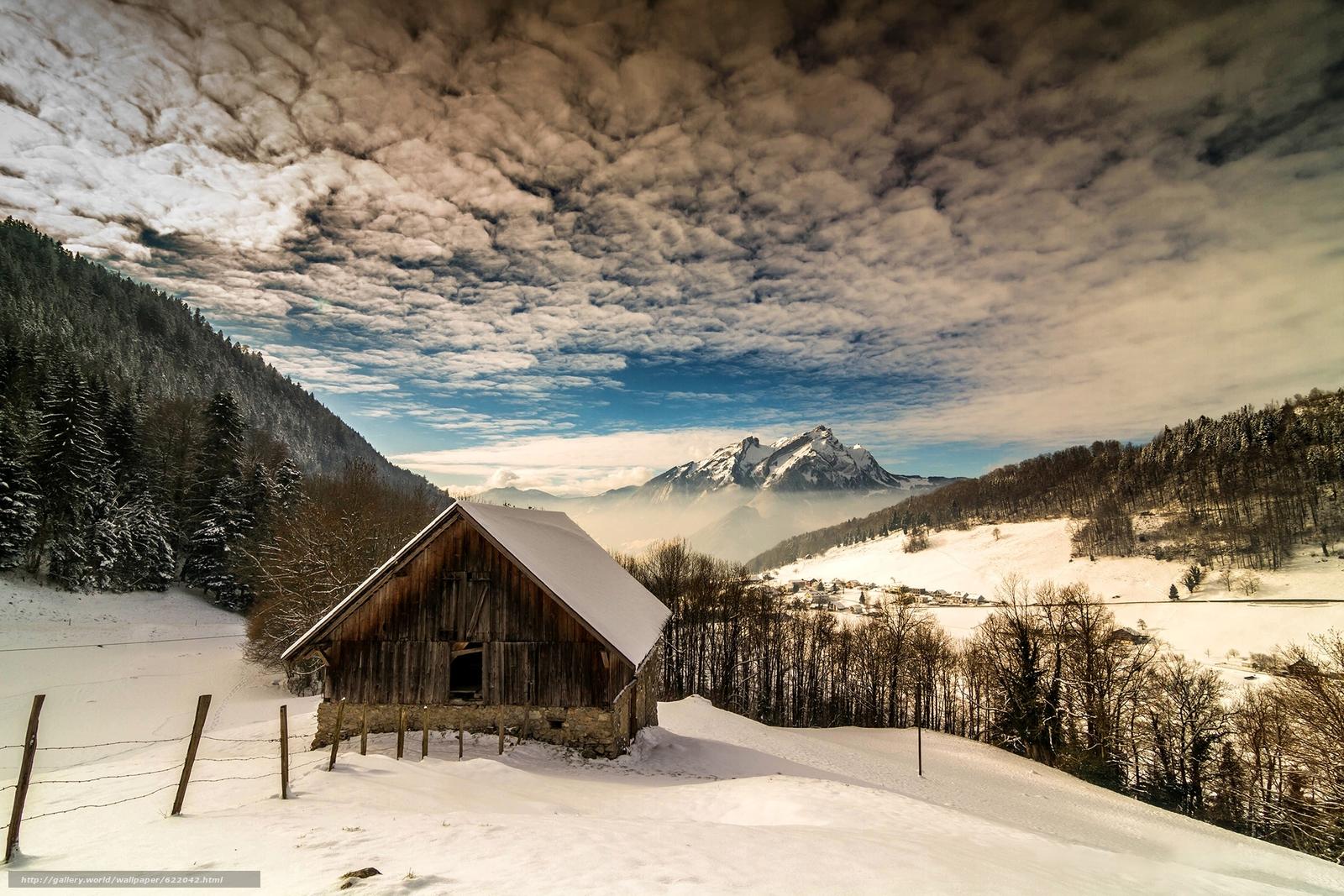 Descargar gratis invierno,  Montañas,  árboles,  casa Fondos de escritorio en la resolucin 2100x1400 — imagen №622042