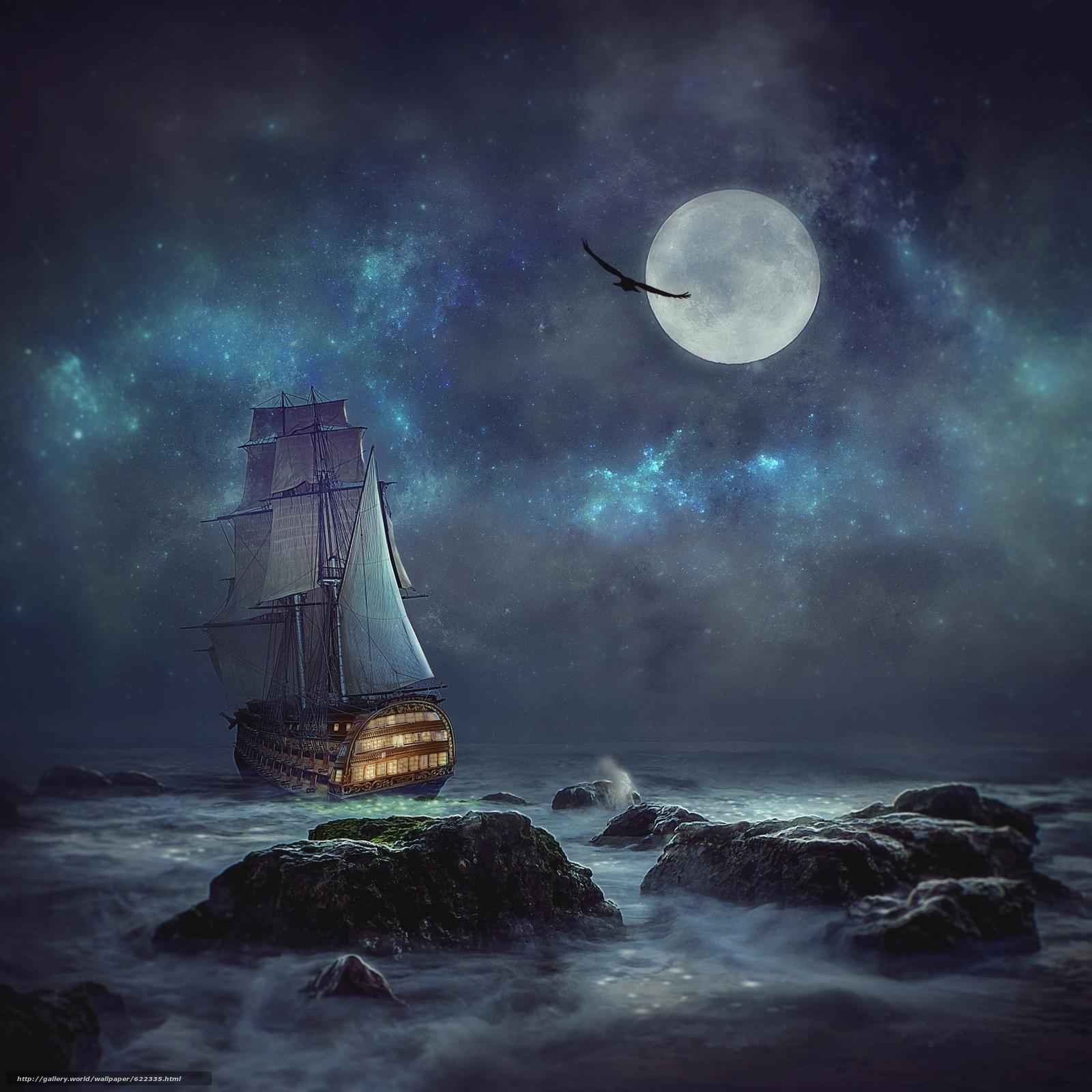 Download wallpaper night,  moon,  sea,  ship free desktop wallpaper in the resolution 3000x3000 — picture №622335