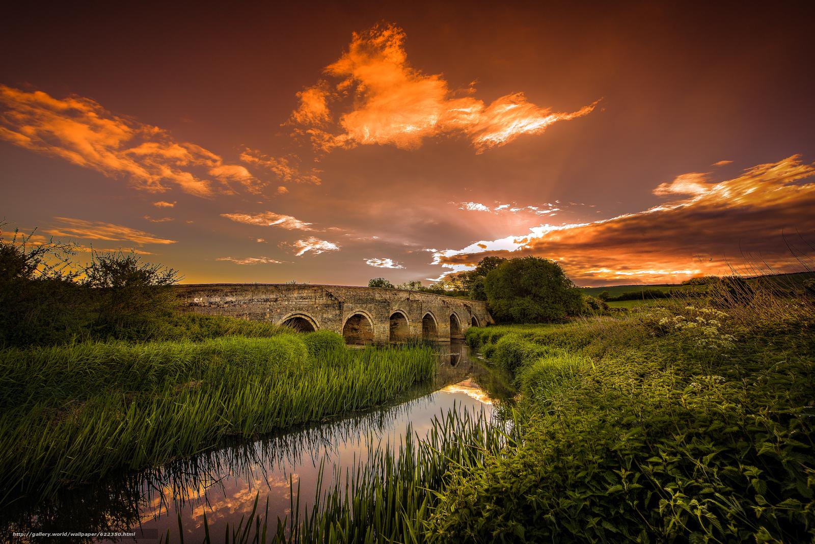 Скачать обои закат,  речка,  мост,  деревья бесплатно для рабочего стола в разрешении 6792x4533 — картинка №622350