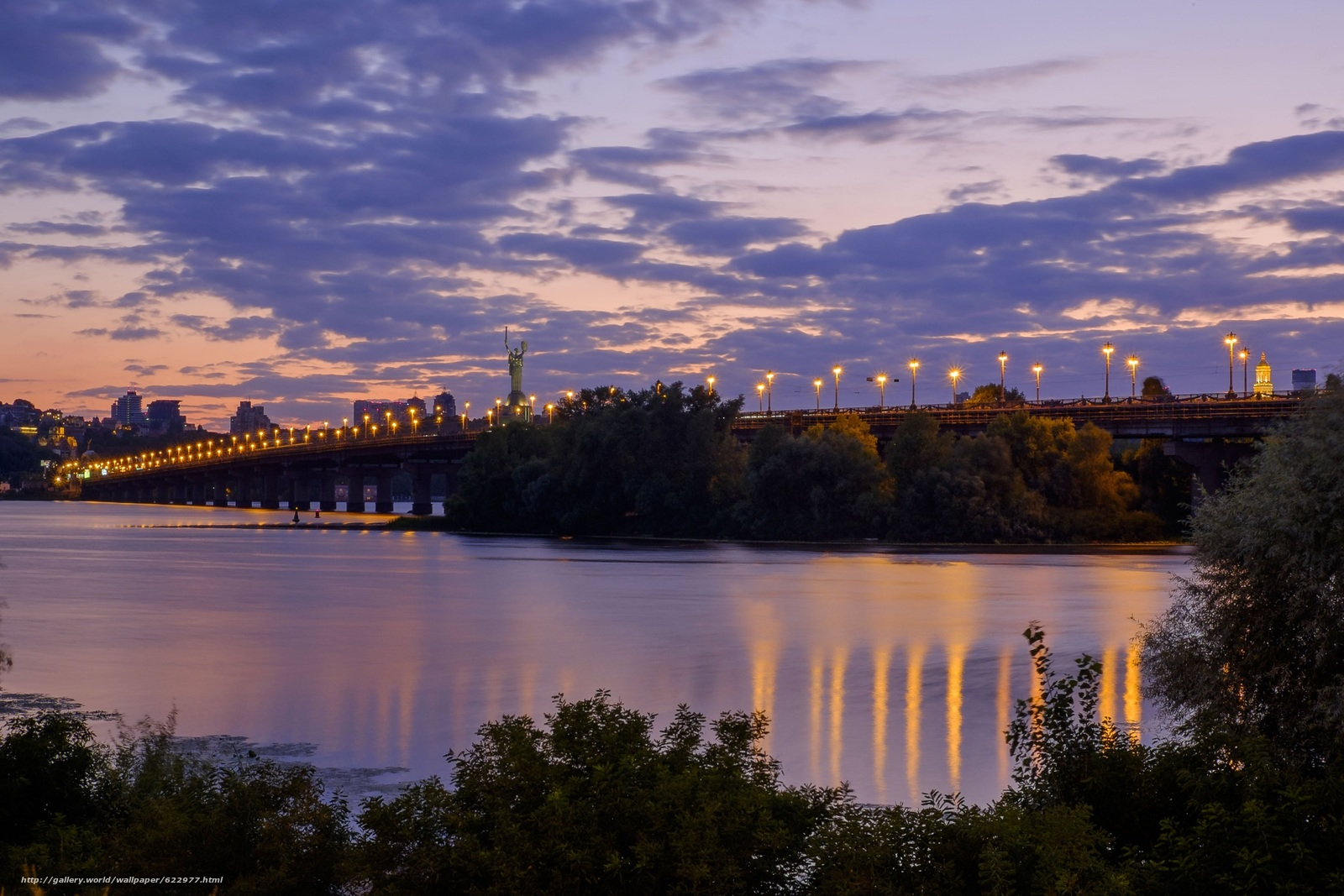 Download wallpaper evening,  bridge,  river,  Dnieper free desktop wallpaper in the resolution 4687x3125 — picture №622977