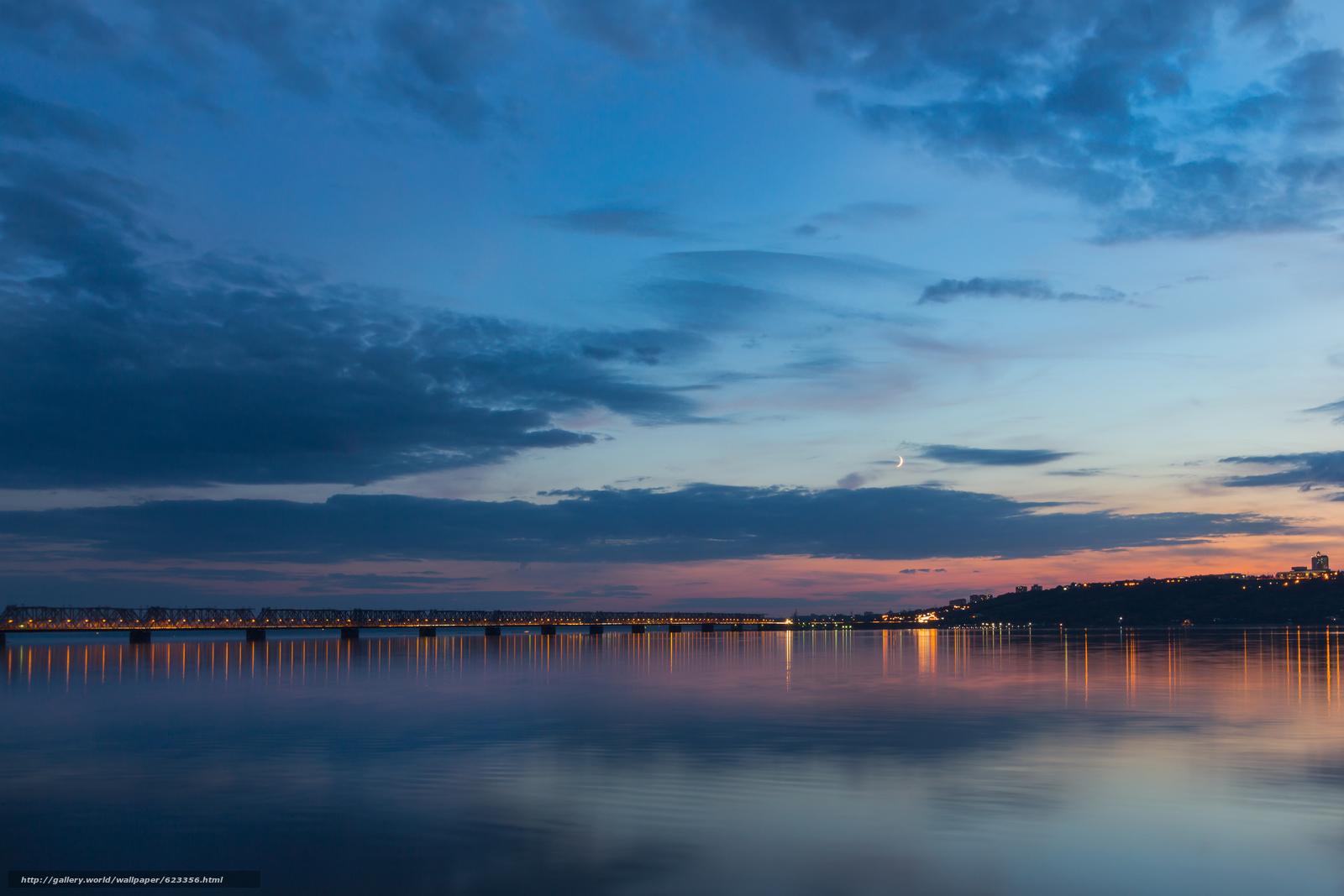 Скачать обои Вечер,  сумерки,  мост,  река бесплатно для рабочего стола в разрешении 5184x3456 — картинка №623356