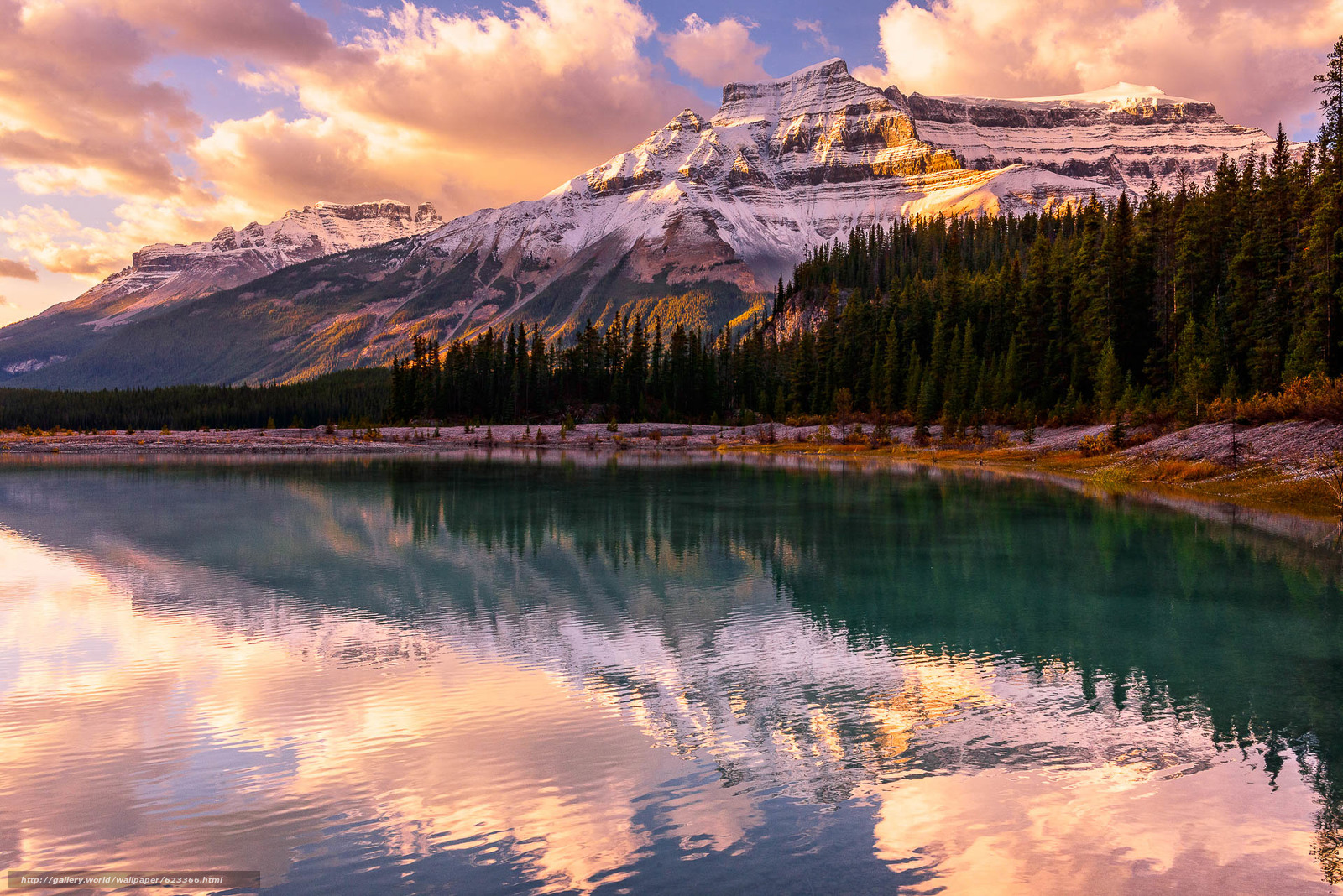 scaricare gli sfondi Alberta,  Parco Nazionale di Banff,  Canada,  tramonto Sfondi gratis per la risoluzione del desktop 1920x1281 — immagine №623366