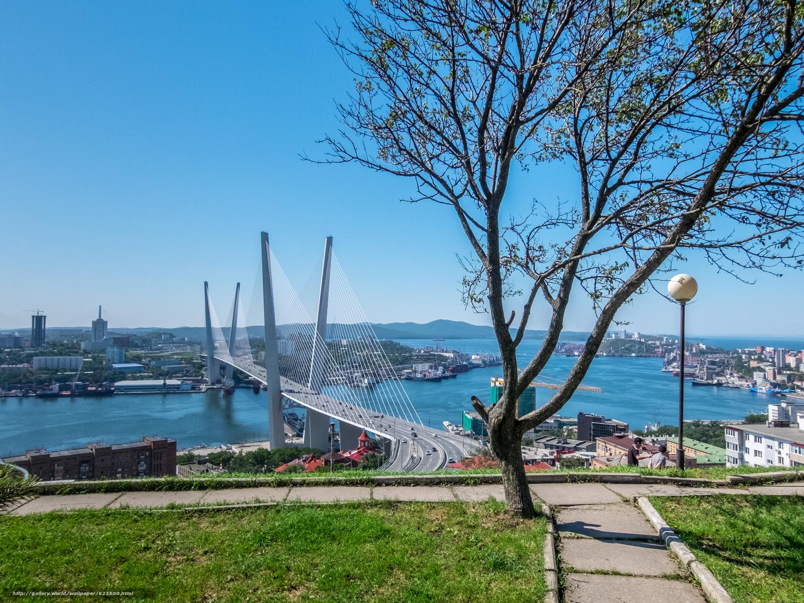 Скачать обои Владивосток,  Россия,  мост,  море бесплатно для рабочего стола в разрешении 3872x2904 — картинка №623500