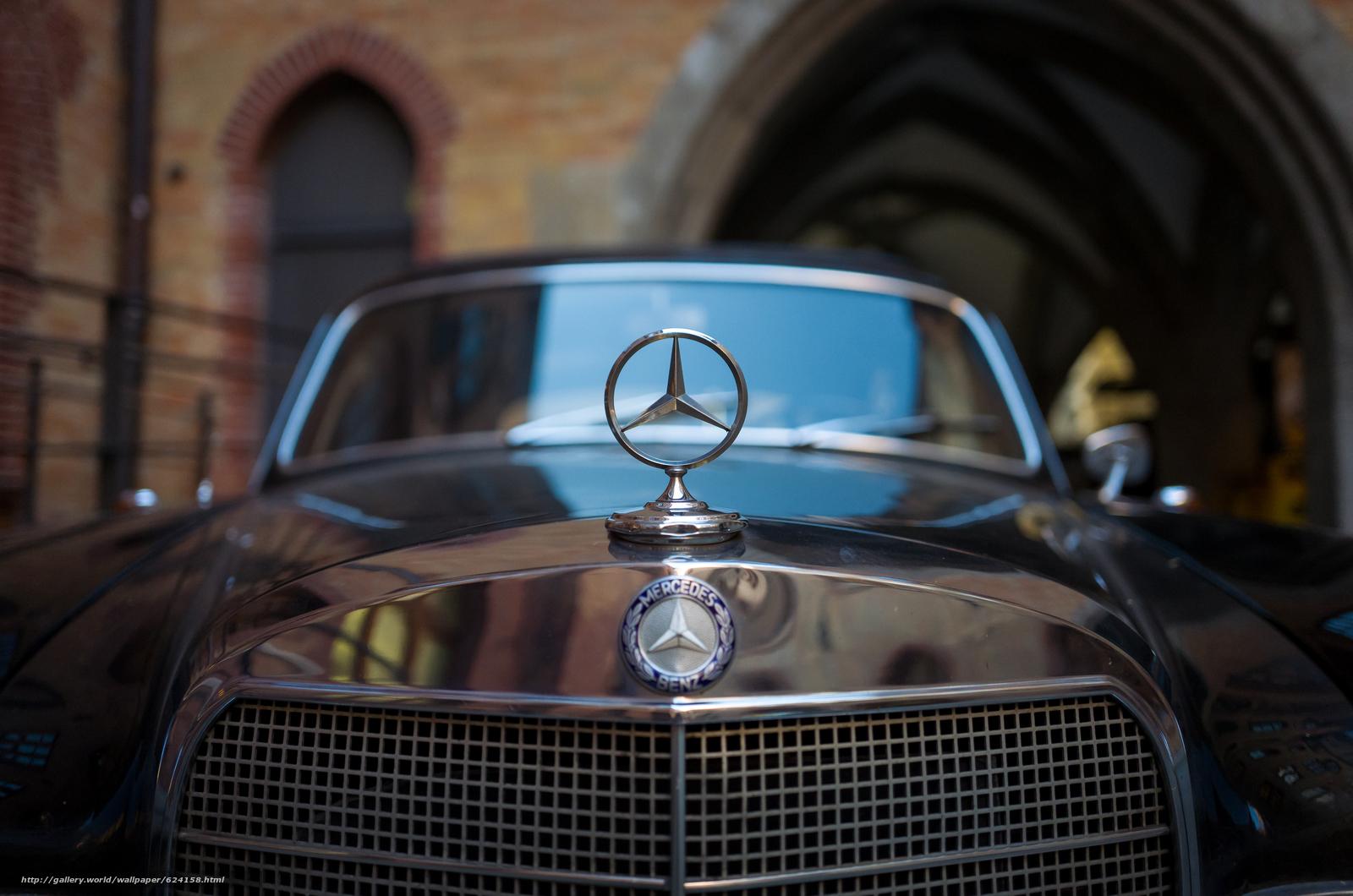 Скачать обои Mercedes-Benz,  капот,  значок,  решётка бесплатно для рабочего стола в разрешении 5786x3834 — картинка №624158