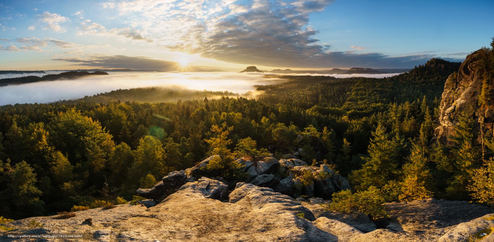 Скачать обои Elbe Sandstone Mountains,  Saxon Switzerland,  Saxony,  Germany бесплатно для рабочего стола в разрешении 6114x3000 — картинка №624166