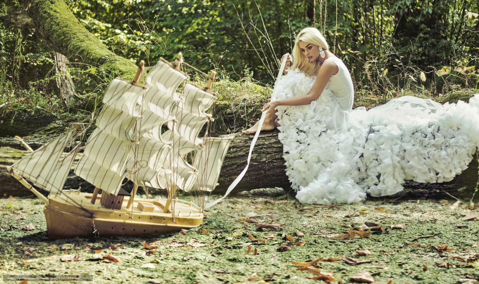 Скачать обои модель,  платье,  кораблик,  парусник бесплатно для рабочего стола в разрешении 4000x2372 — картинка №624188