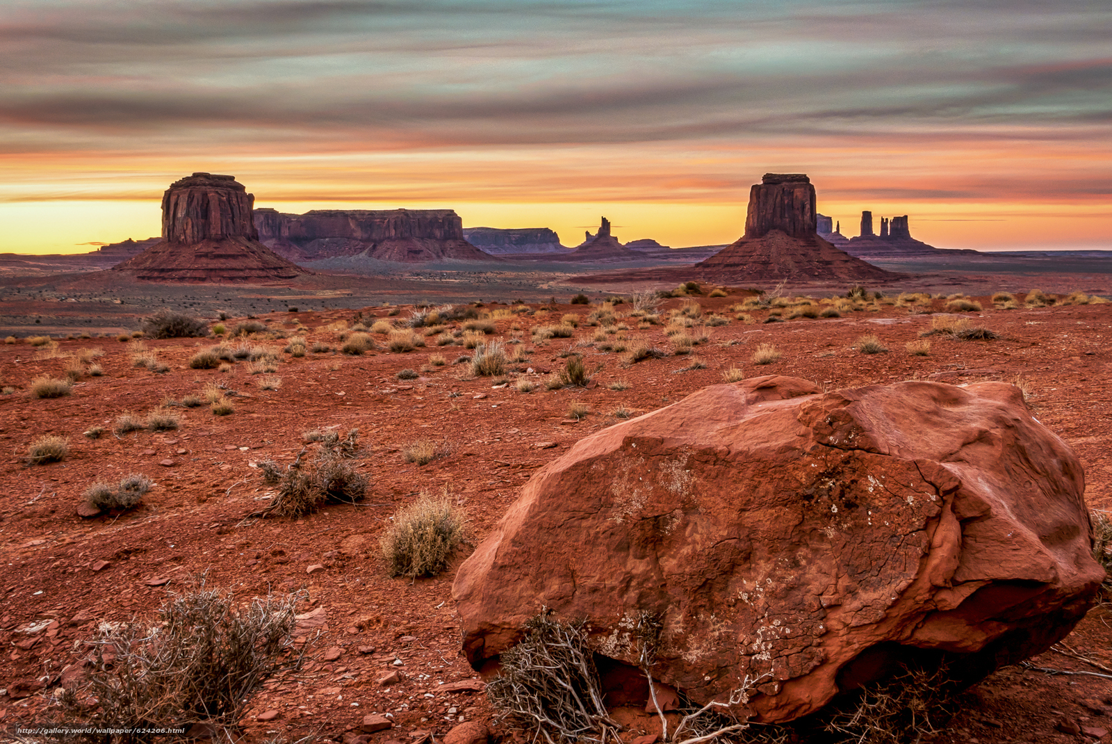 Download wallpaper sunset,  Monument Valley,  USA,  Mountains free desktop wallpaper in the resolution 2048x1369 — picture №624206