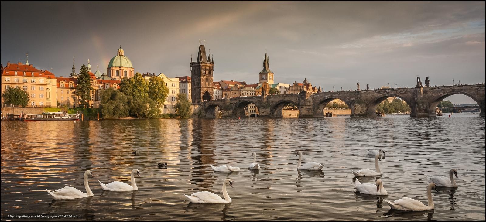 Download wallpaper Czech Republic,  Prague,  Prague,  panorama free desktop wallpaper in the resolution 3450x1576 — picture №624210