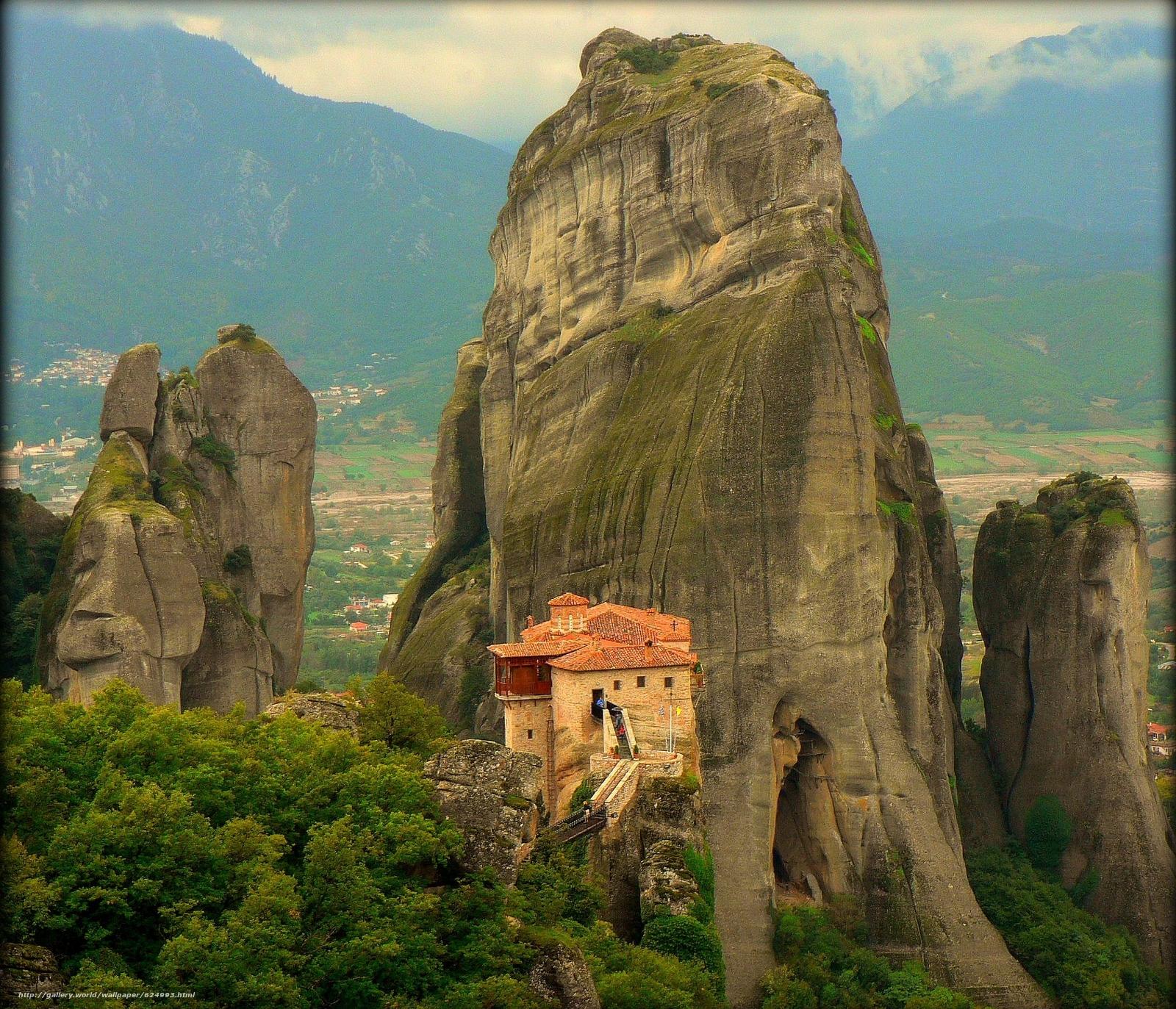 scaricare gli sfondi Griechenland,  Meteora Kloster,  paesaggio Sfondi gratis per la risoluzione del desktop 2173x1865 — immagine №624993