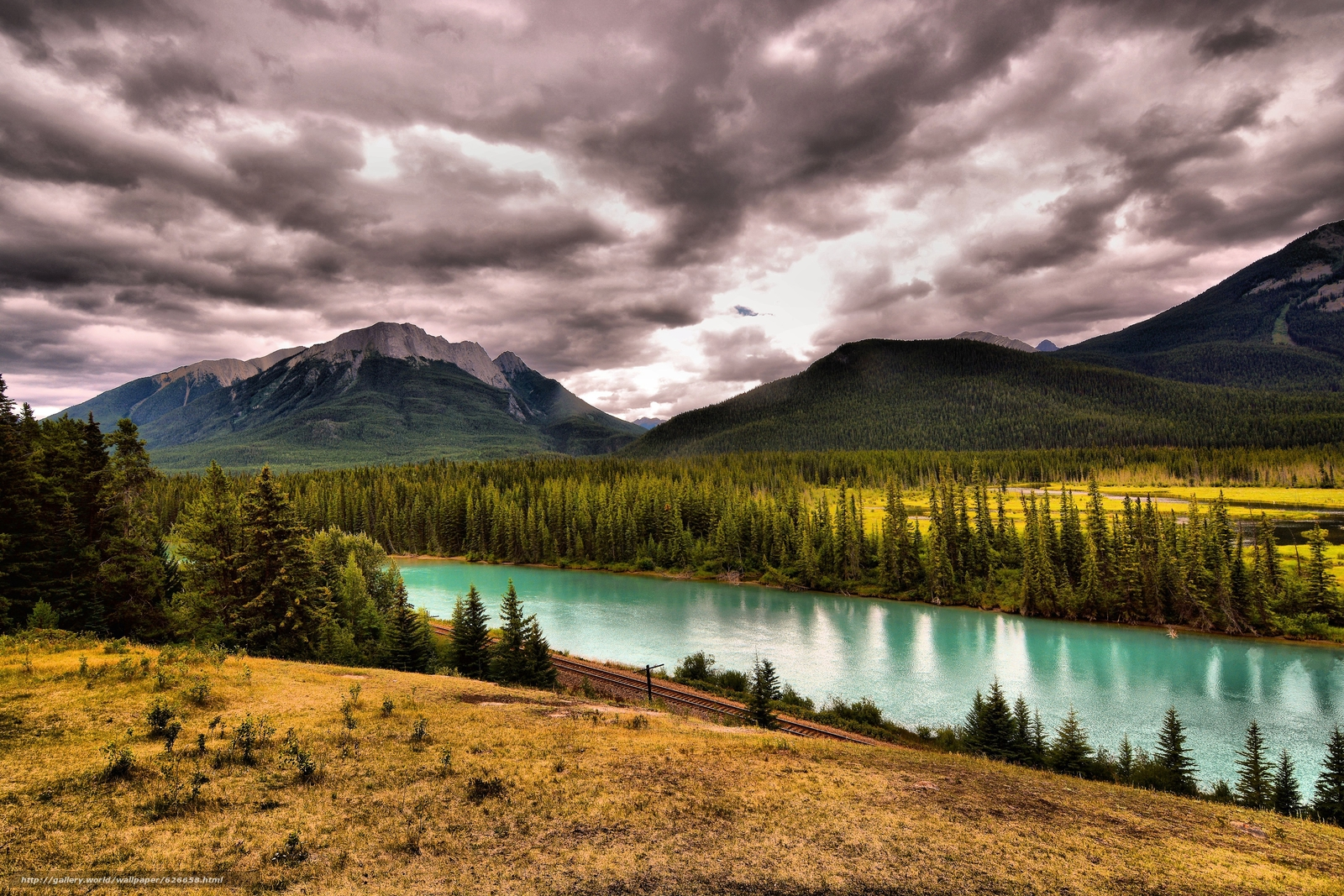 Download wallpaper Bow river,  Canada,  Mountains,  river free desktop wallpaper in the resolution 6000x4000 — picture №626658