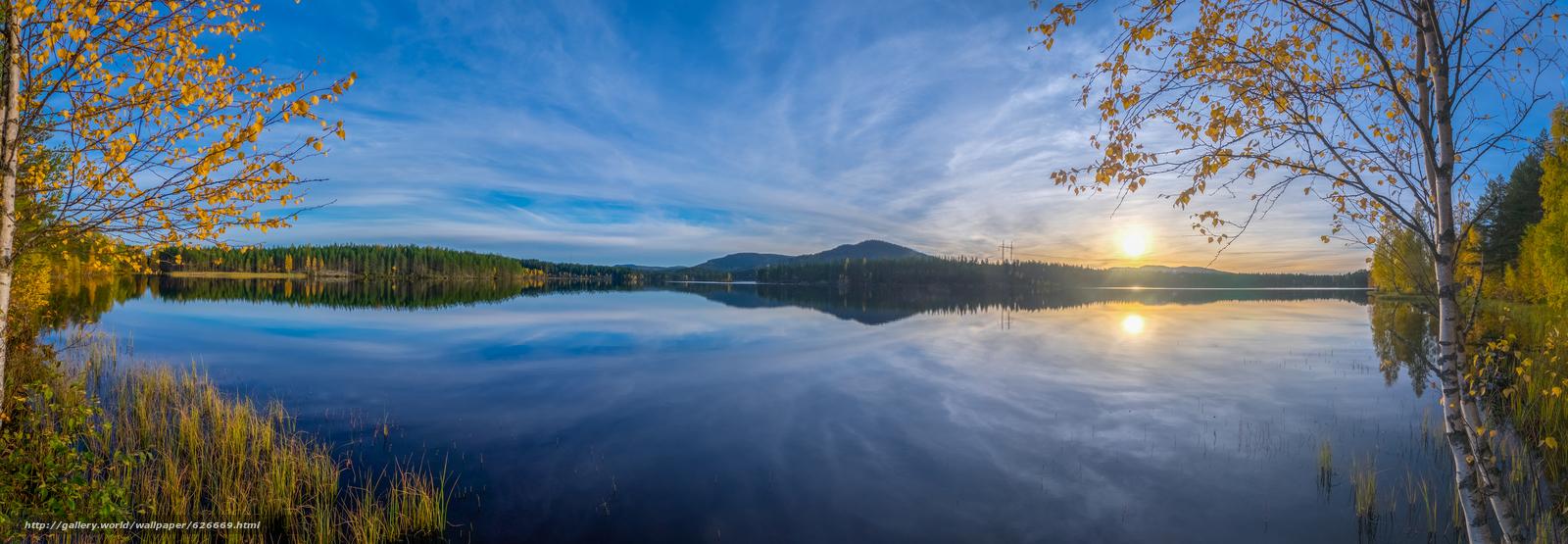 下载壁纸 日落,  湖,  景观,  达拉纳 免费为您的桌面分辨率的壁纸 8258x2862 — 图片 №626669
