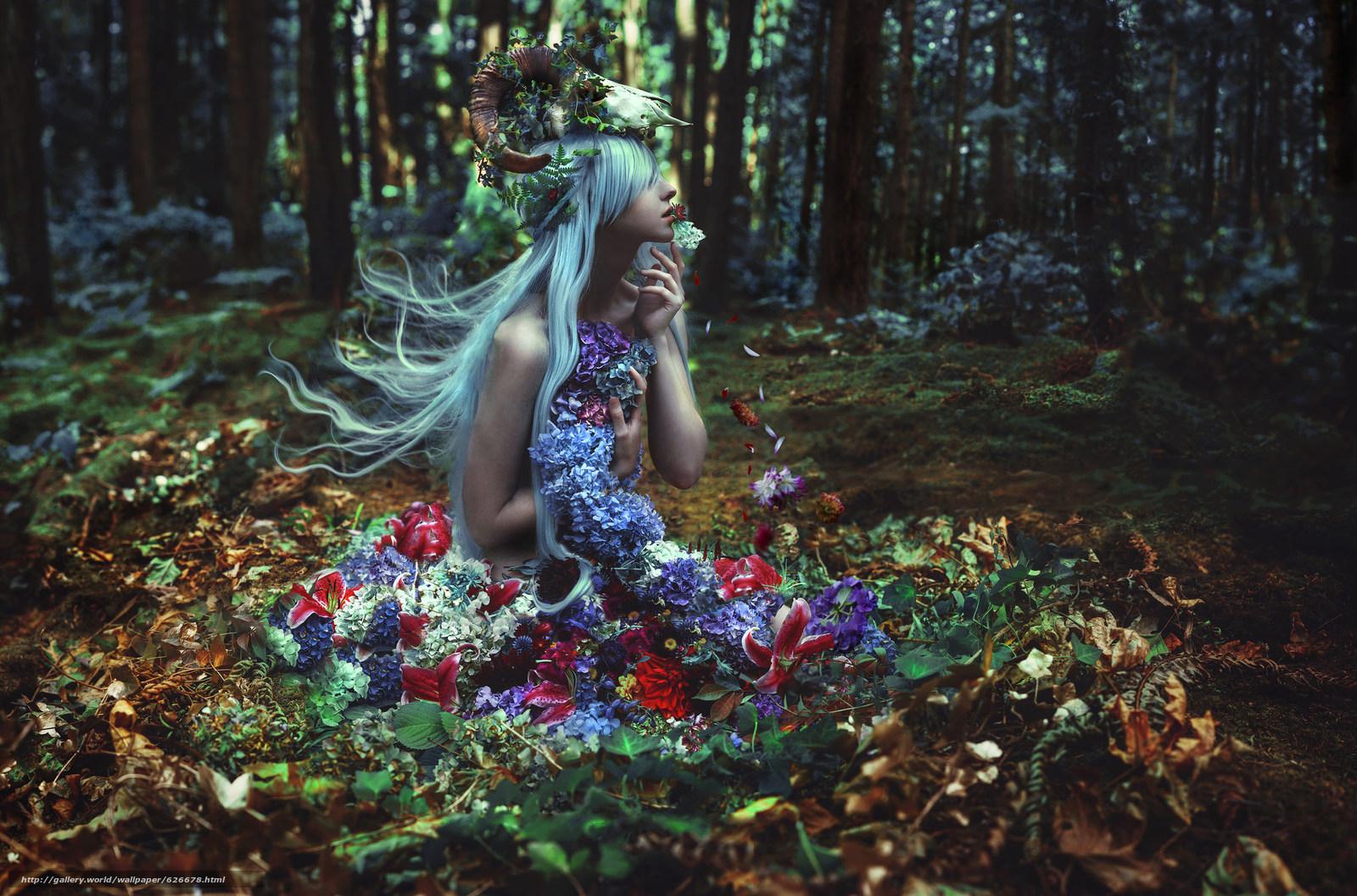 Скачать обои SuzAnne Steben,  нимфа,  лес,  цветы бесплатно для рабочего стола в разрешении 2048x1353 — картинка №626678