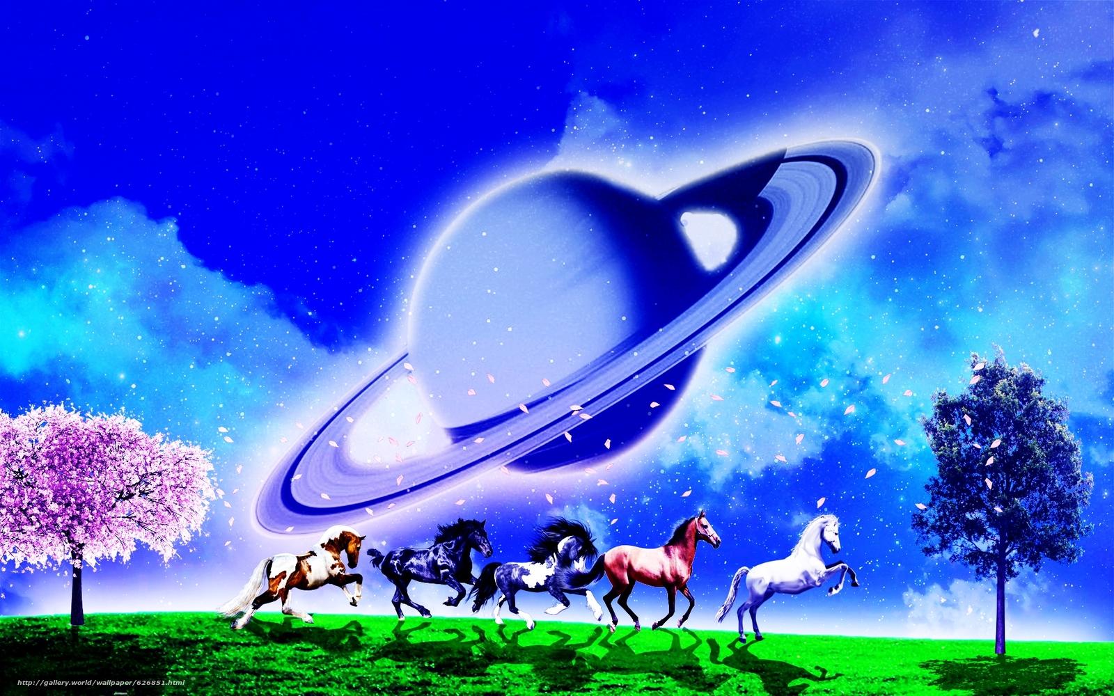 Скачать обои поле,  лошади,  деревья,  планета бесплатно для рабочего стола в разрешении 1920x1200 — картинка №626851