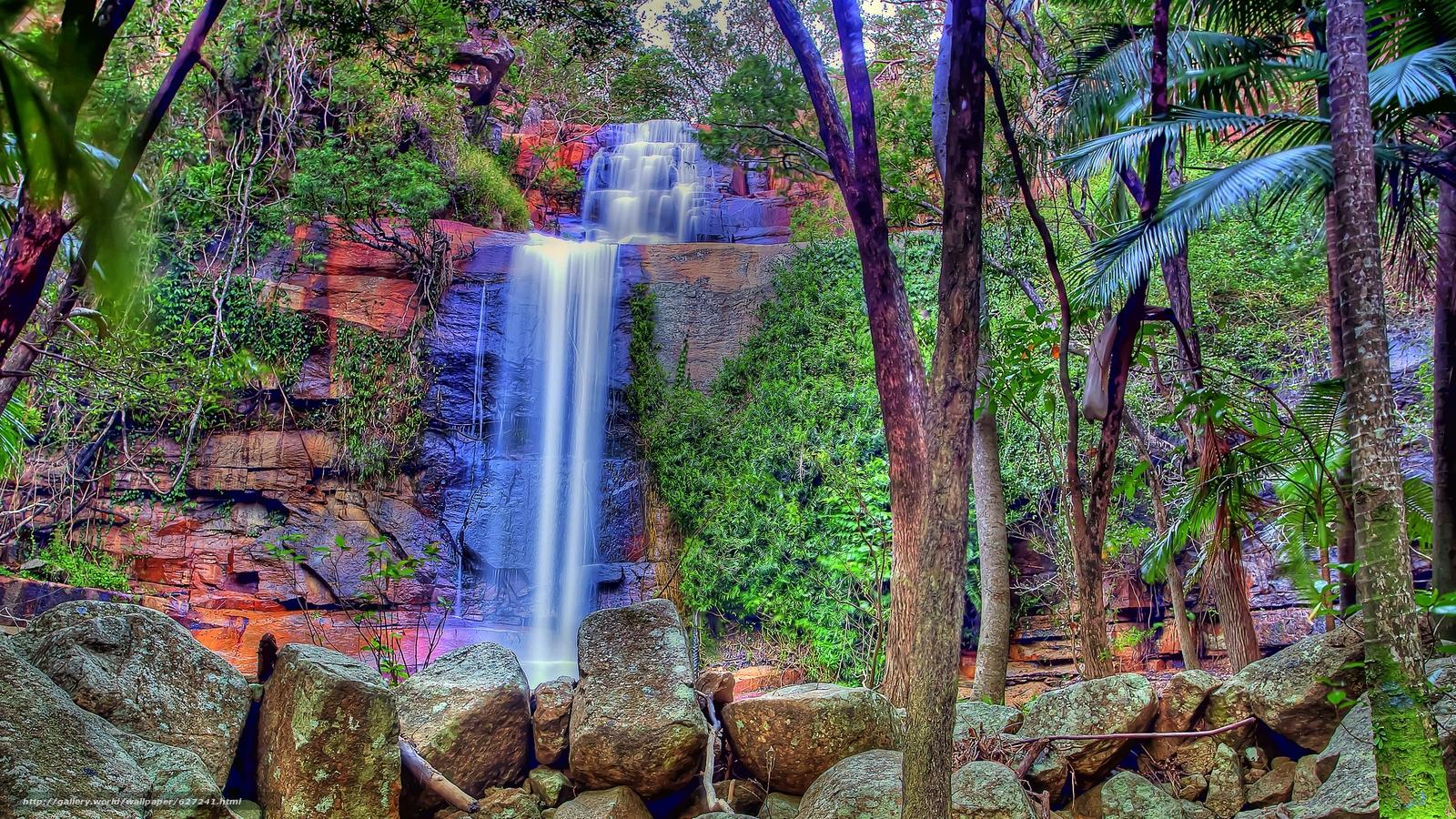 Descargar gratis cascada,  Rocas,  piedras,  árboles Fondos de escritorio en la resolucin 2560x1440 — imagen №627241