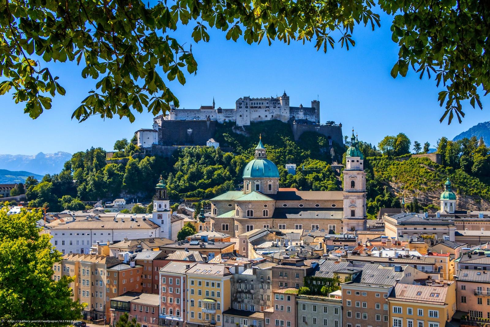 Download wallpaper Hohensalzburg Castle,  Festungsberg,  Salzburg Cathedral,  Salzburg free desktop wallpaper in the resolution 5472x3648 — picture №627966