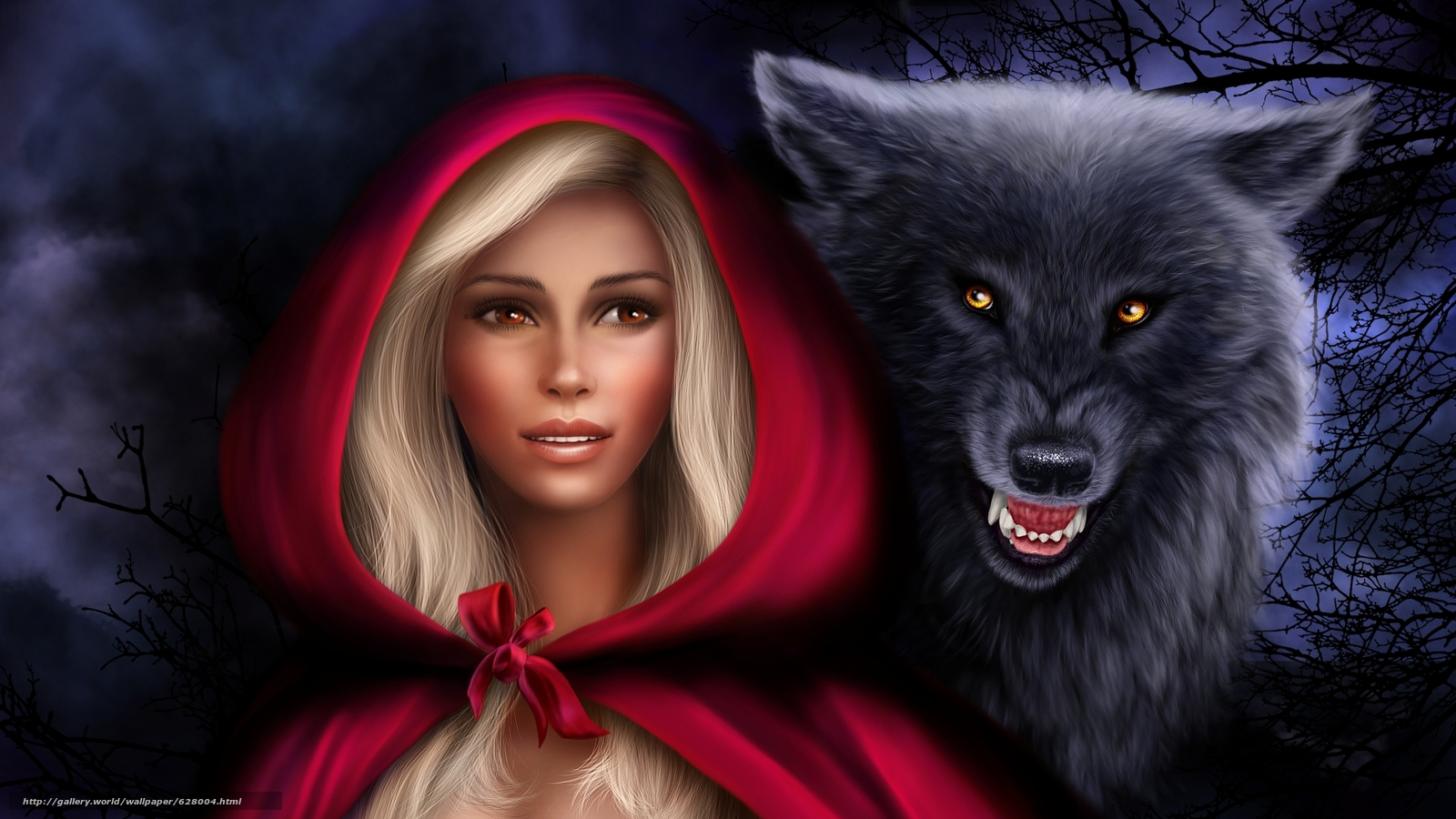 Download wallpaper Red Riding Hood,  gray wolf,  fantasy free desktop wallpaper in the resolution 2560x1440 — picture №628004