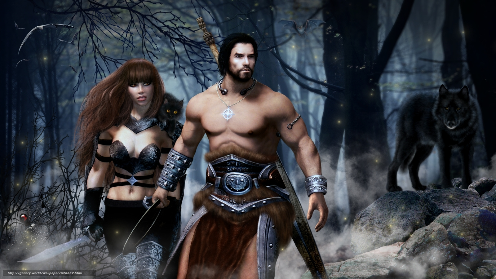 Download wallpaper warrior,  girl,  wolf,  fantasy free desktop wallpaper in the resolution 1920x1080 — picture №628007