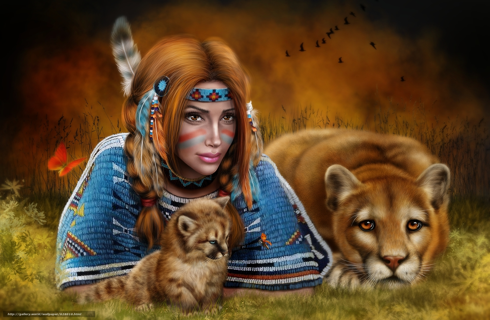 Download wallpaper girl,  lioness,  art free desktop wallpaper in the resolution 1788x1170 — picture №628010