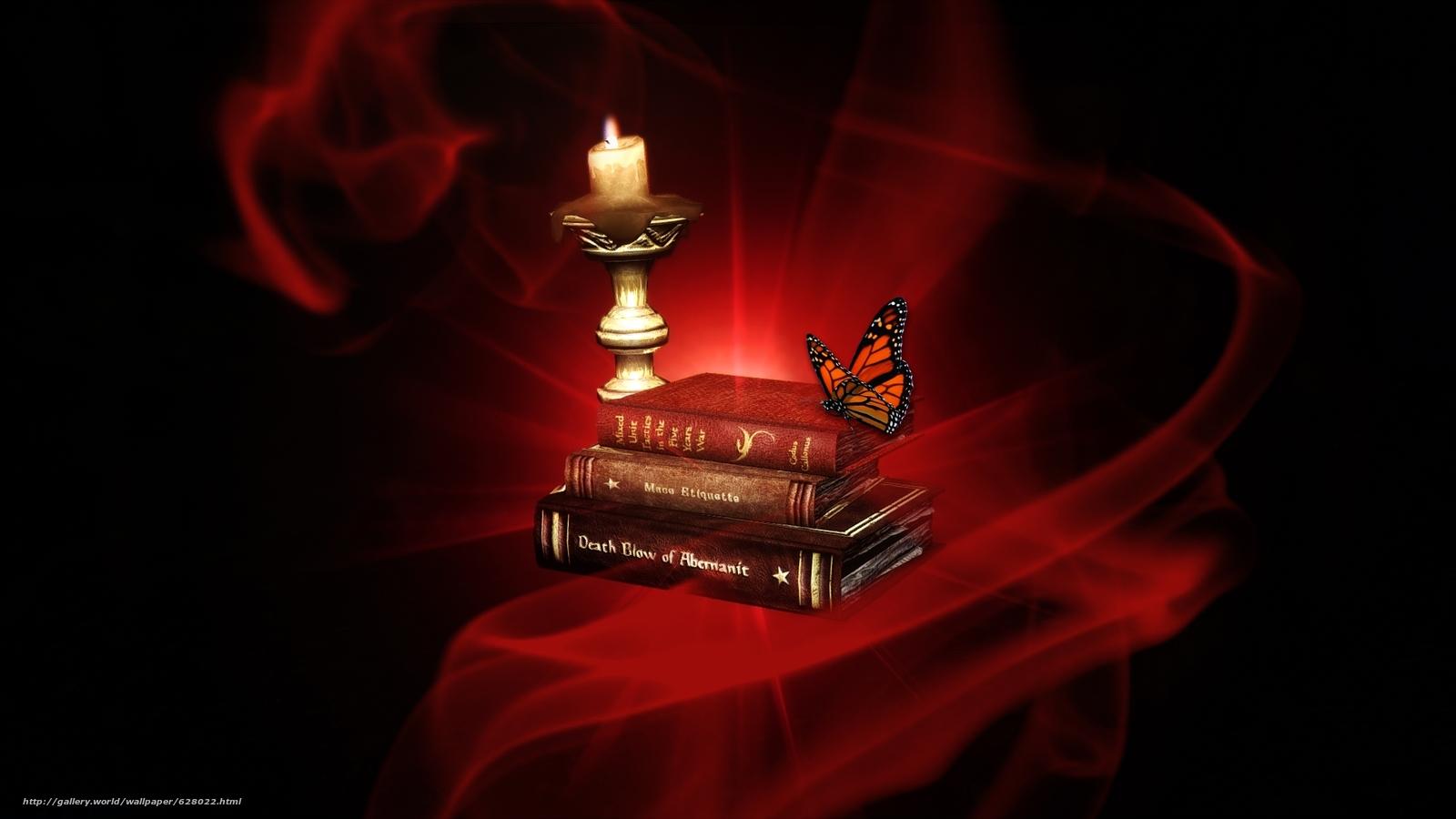 Скачать обои свеча,  книга,  бабочка бесплатно для рабочего стола в разрешении 1920x1080 — картинка №628022