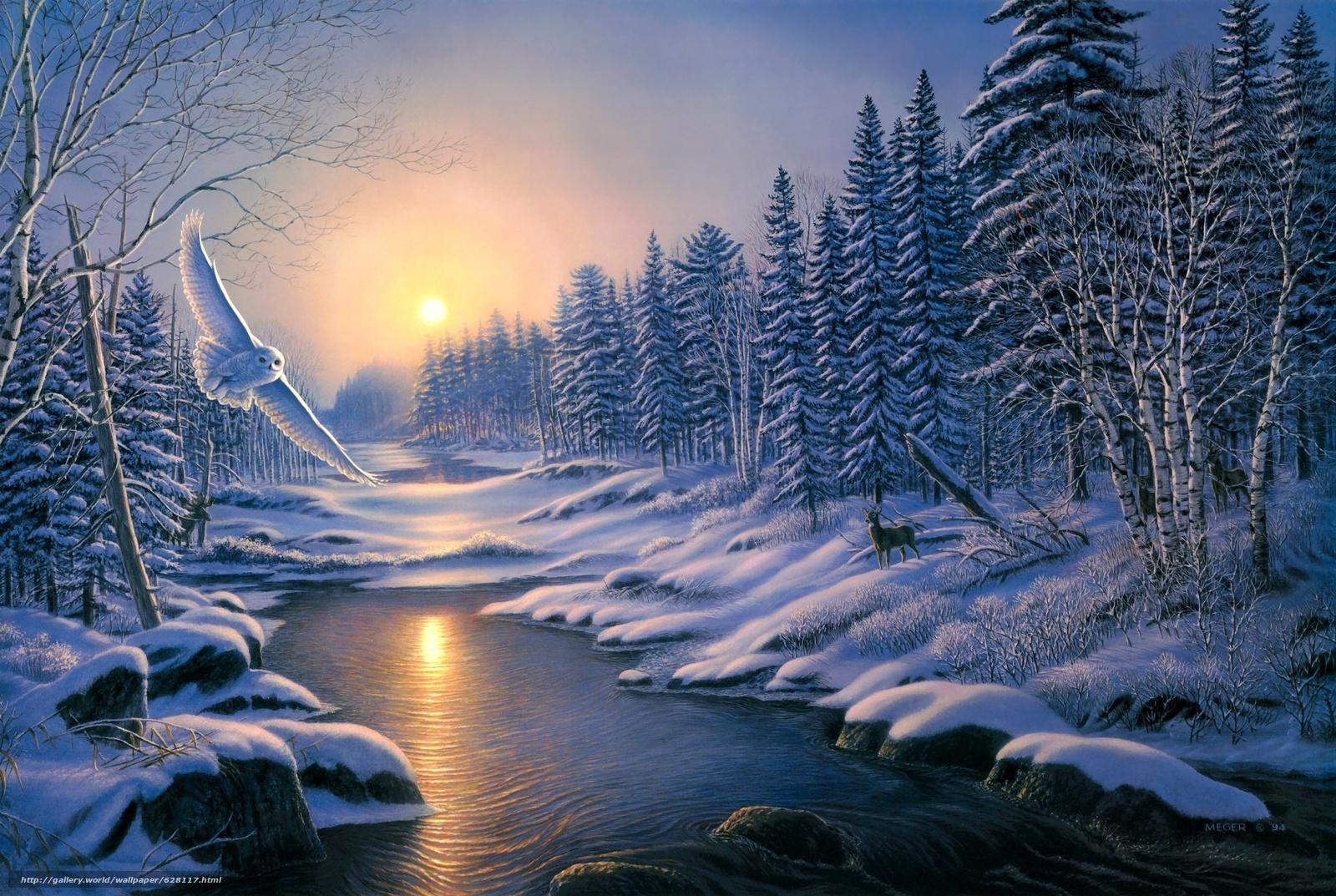 scaricare gli sfondi inverno,  tramonto,  foresta,  alberi Sfondi gratis per la risoluzione del desktop 2730x1830 — immagine №628117