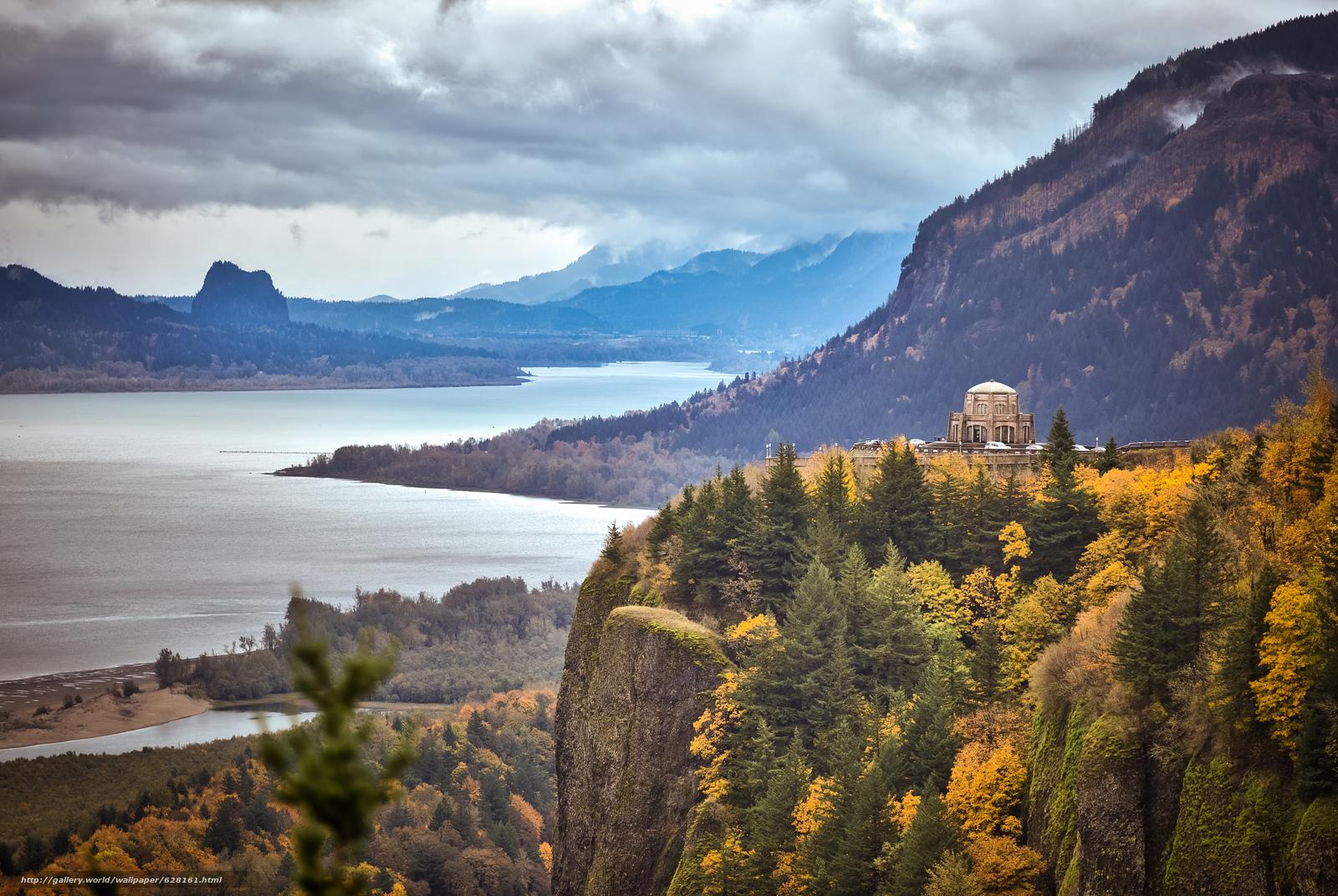 Скачать обои Виста Дом,  Краун Пойнт,  в ущелье реки Колумбия,  Орегон бесплатно для рабочего стола в разрешении 5427x3635 — картинка №628161