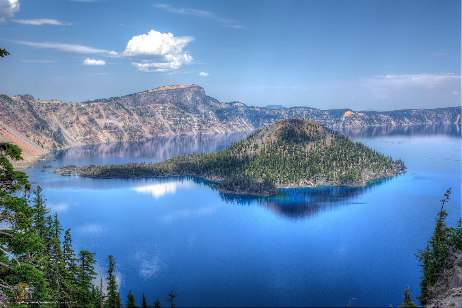Скачать обои Crater Lake National Park,  озеро,  остров,  деревья бесплатно для рабочего стола в разрешении 6036x4020 — картинка №628165