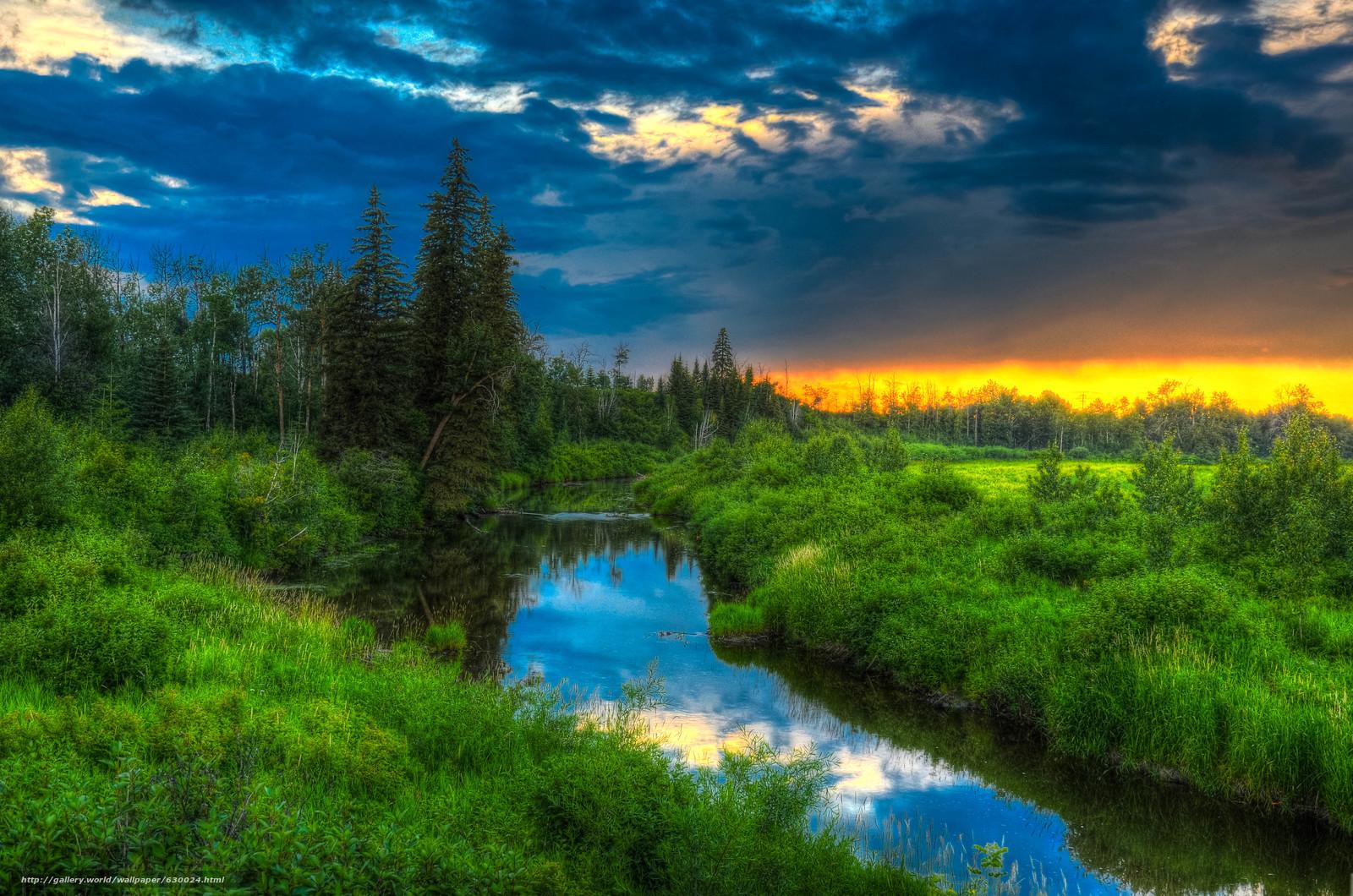 Скачать обои закат.река,  деревья,  Альберта,  канада бесплатно для рабочего стола в разрешении 4923x3260 — картинка №630024