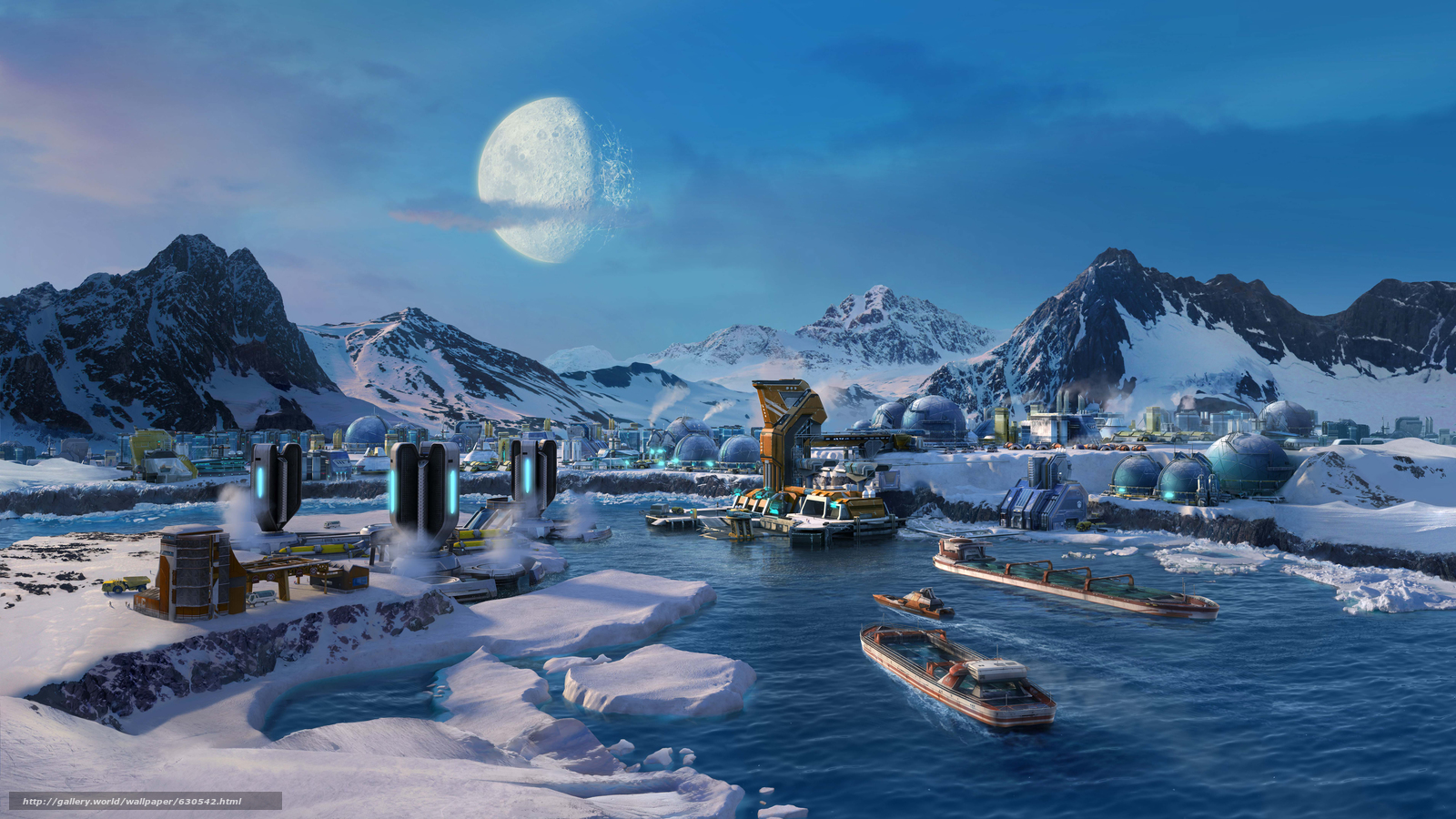Download wallpaper Anno 2205,  Arctic,  colony free desktop wallpaper in the resolution 7645x4300 — picture №630542