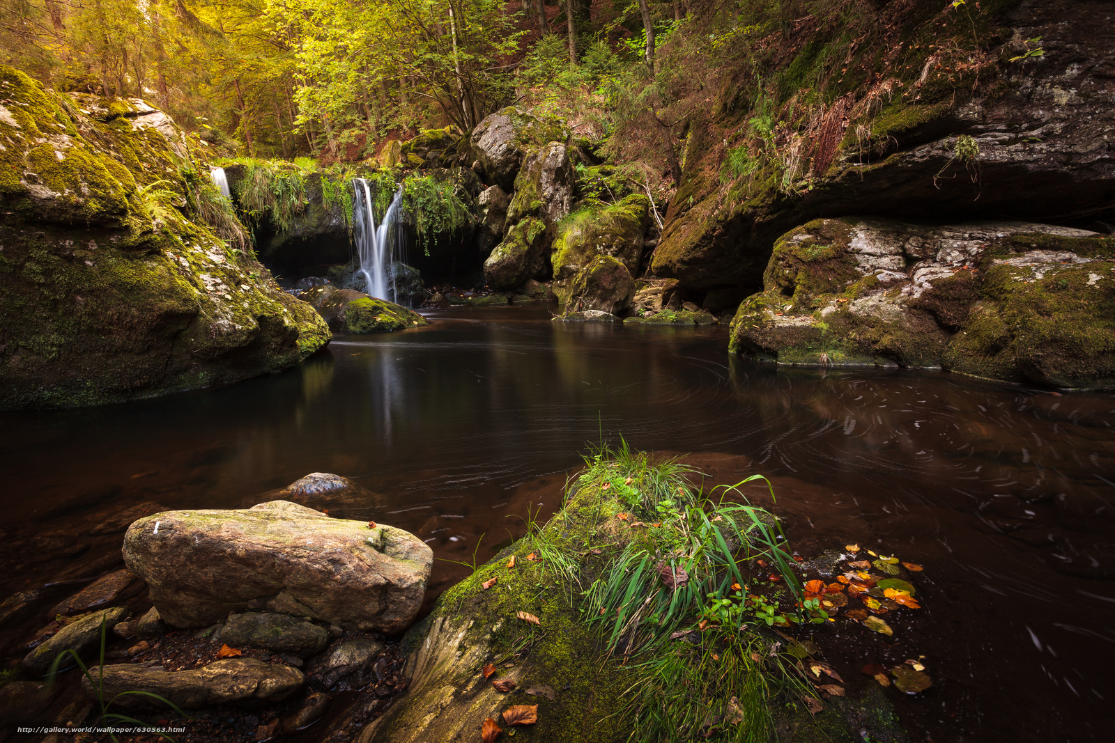Download wallpaper waterfall,  Rocks,  pond,  trees free desktop wallpaper in the resolution 5305x3537 — picture №630563