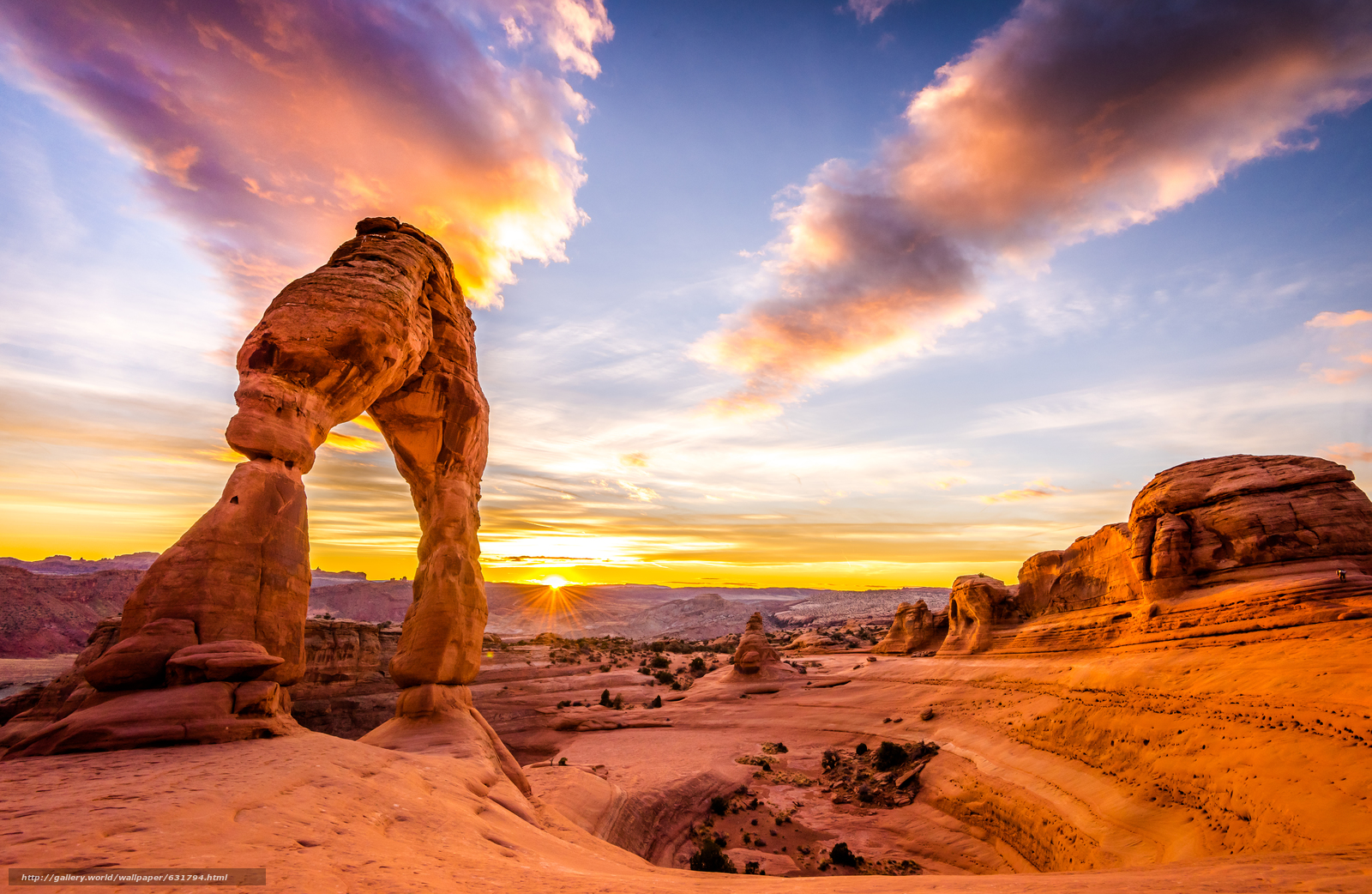 Download Wallpaper Delicate Arch Sunset Mountains Rocks Free Desktop In The Resolution 6643x4326 Picture No631794