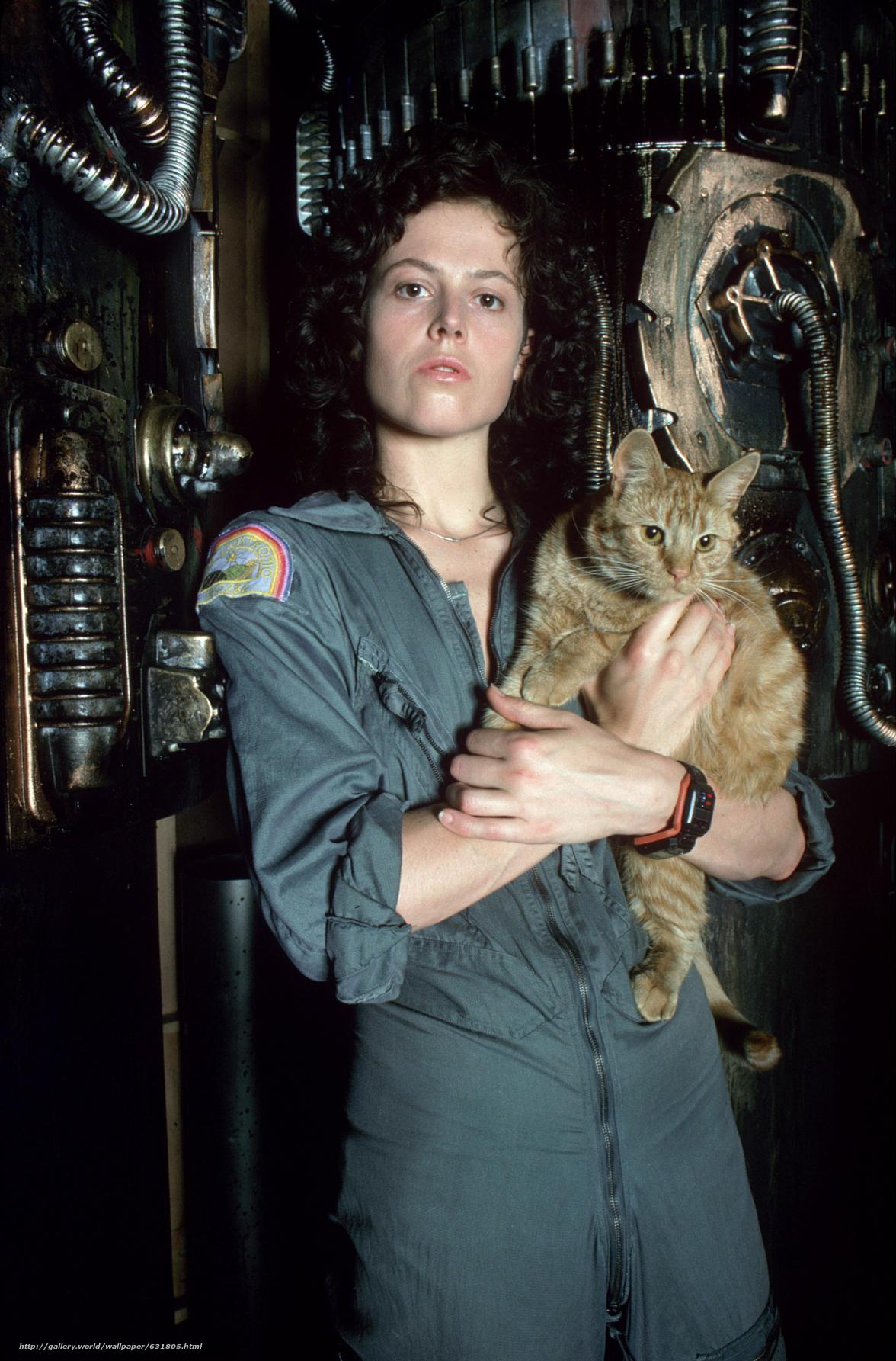 Download wallpaper Sigourney Weaver,  Alien,  cat free desktop wallpaper in the resolution 1176x1785 — picture №631805