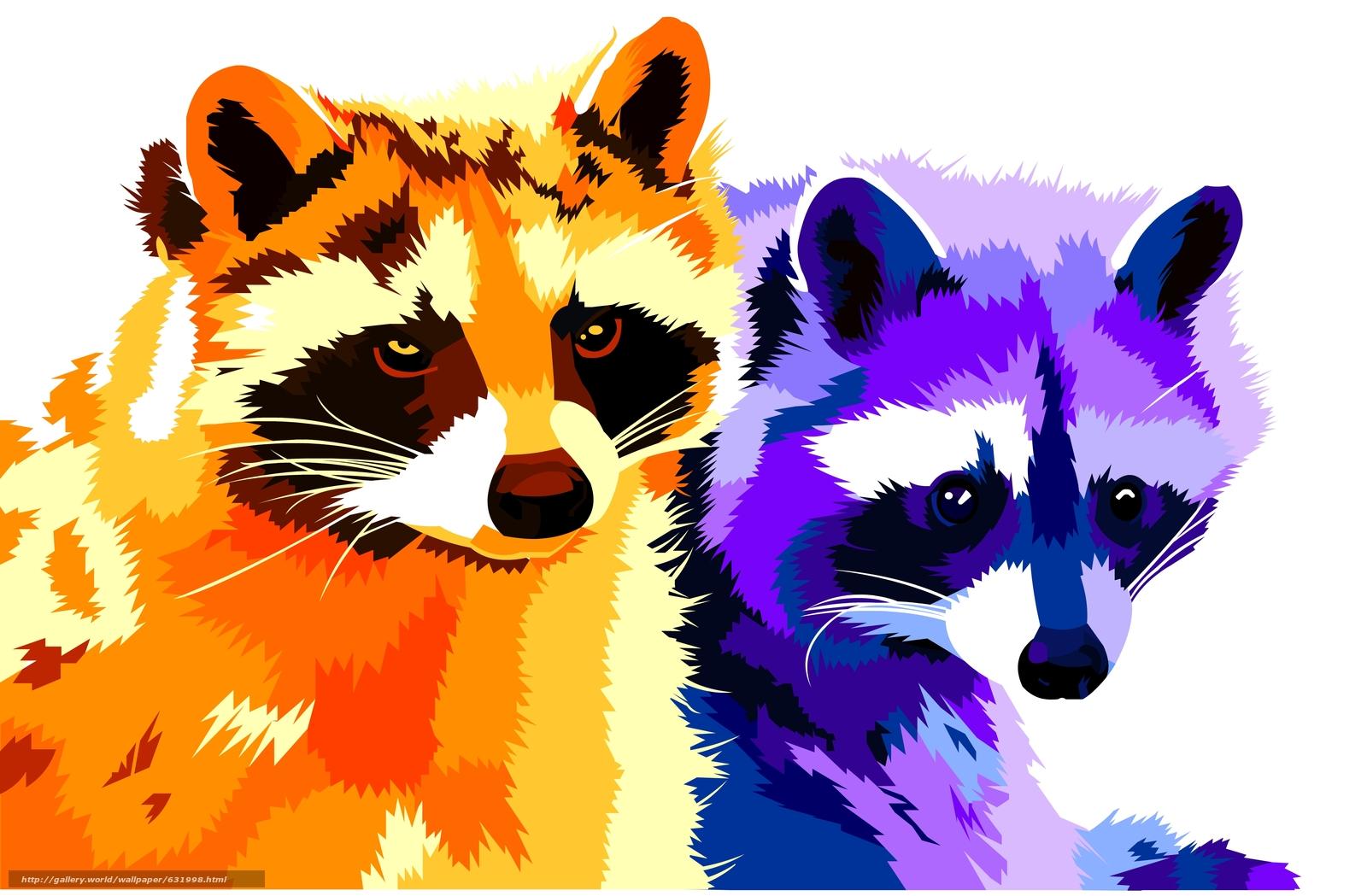 Download wallpaper raccoons,  vector,  art free desktop wallpaper in the resolution 4269x2798 — picture №631998