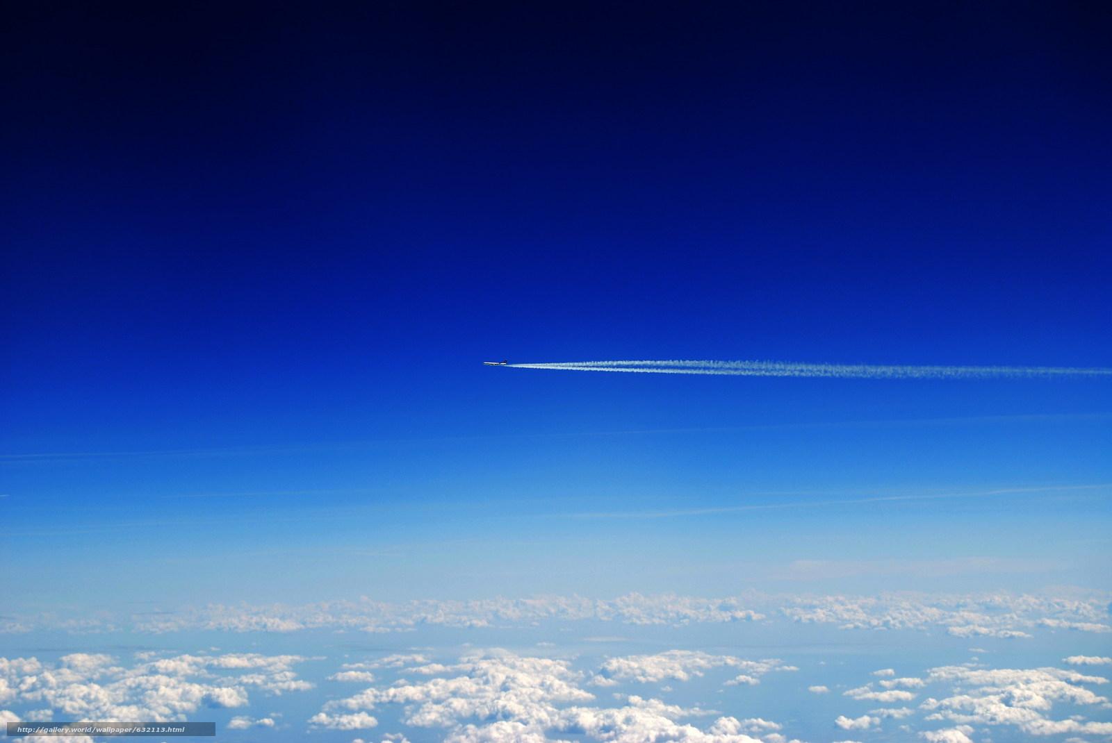 Скачать обои небо,  облака,  самолёт,  пейзаж бесплатно для рабочего стола в разрешении 2048x1370 — картинка №632113