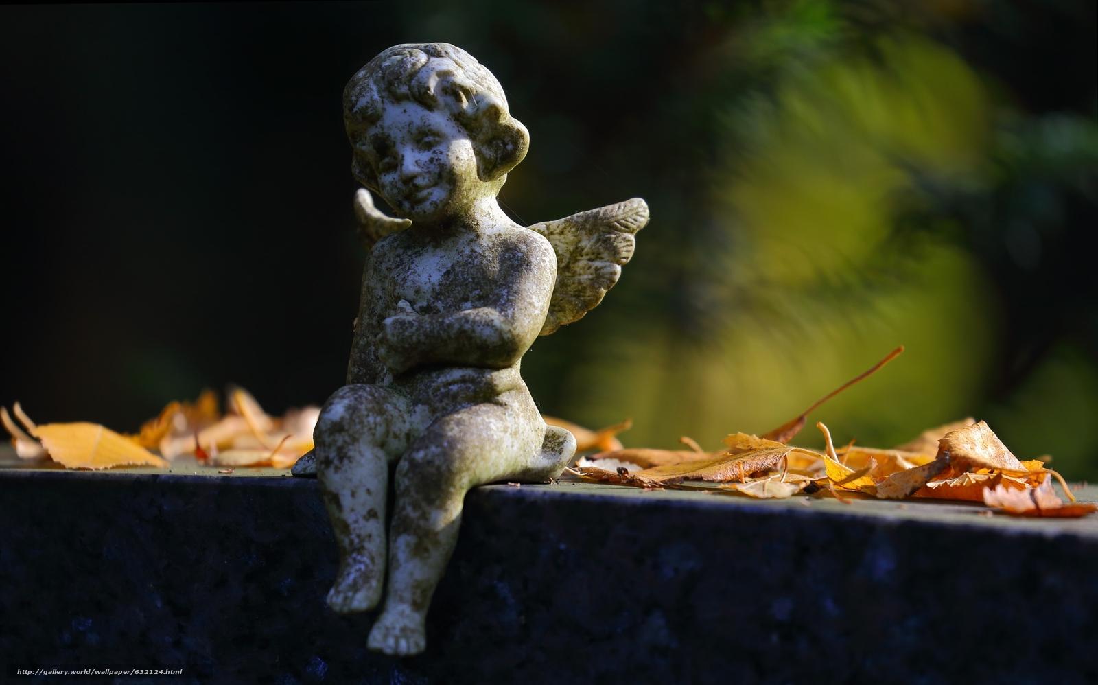 Download wallpaper angel,  sculpture,  foliage,  autumn free desktop wallpaper in the resolution 2200x1372 — picture №632124