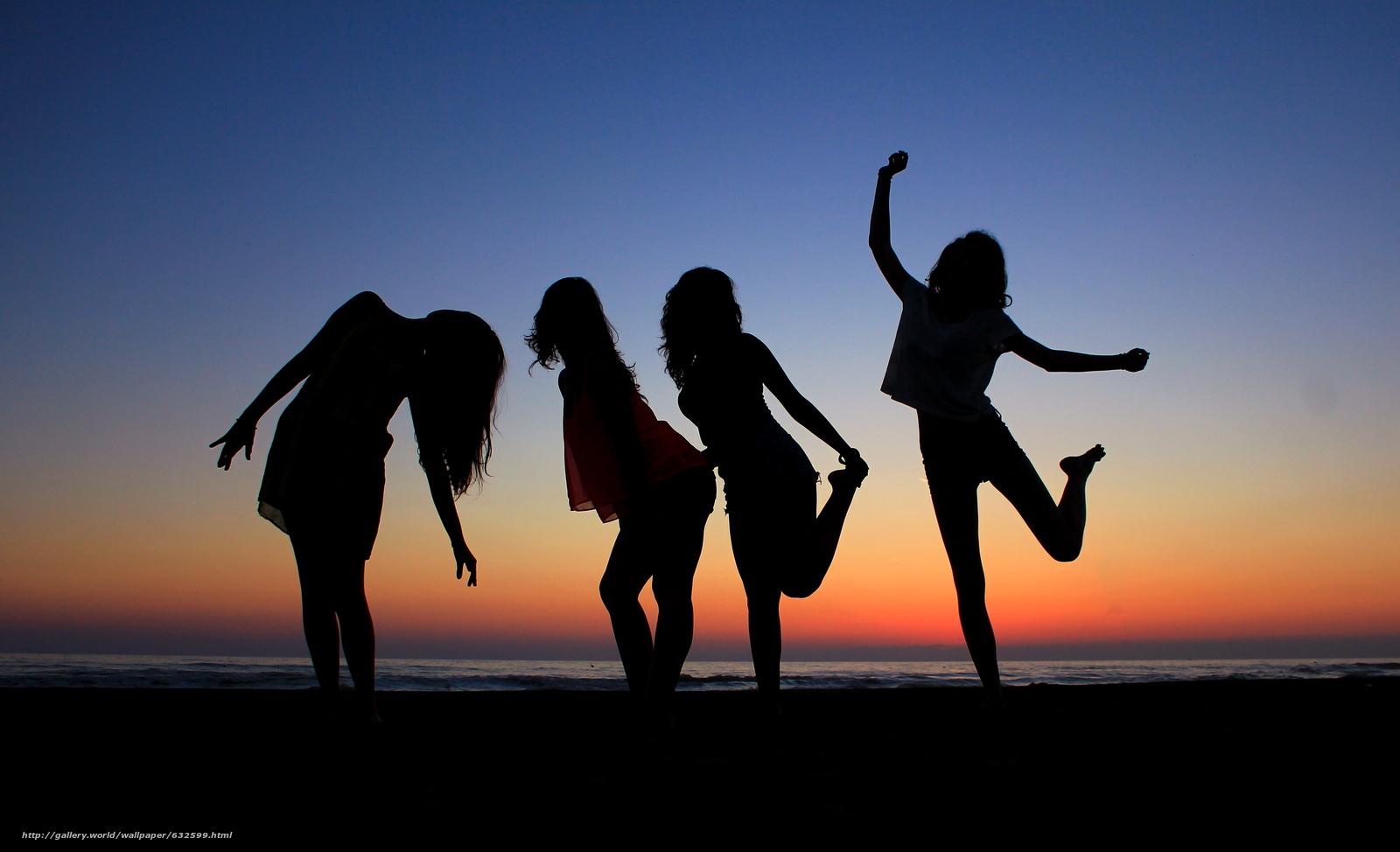 Скачать обои закат,  море,  силуэты девушек,  настроения бесплатно для рабочего стола в разрешении 4816x2931 — картинка №632599