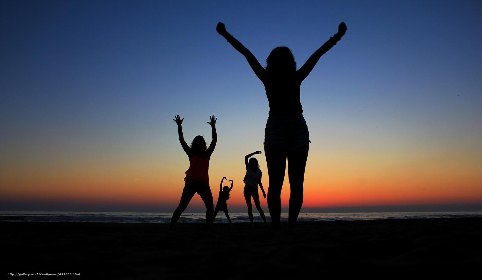 Скачать обои закат,  море,  силуэты девушек,  настроения бесплатно для рабочего стола в разрешении 5078x2948 — картинка №632600