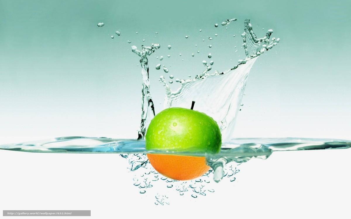 Скачать обои яблоко,  вода,  брызги,  обоя бесплатно для рабочего стола в разрешении 1680x1050 — картинка №632