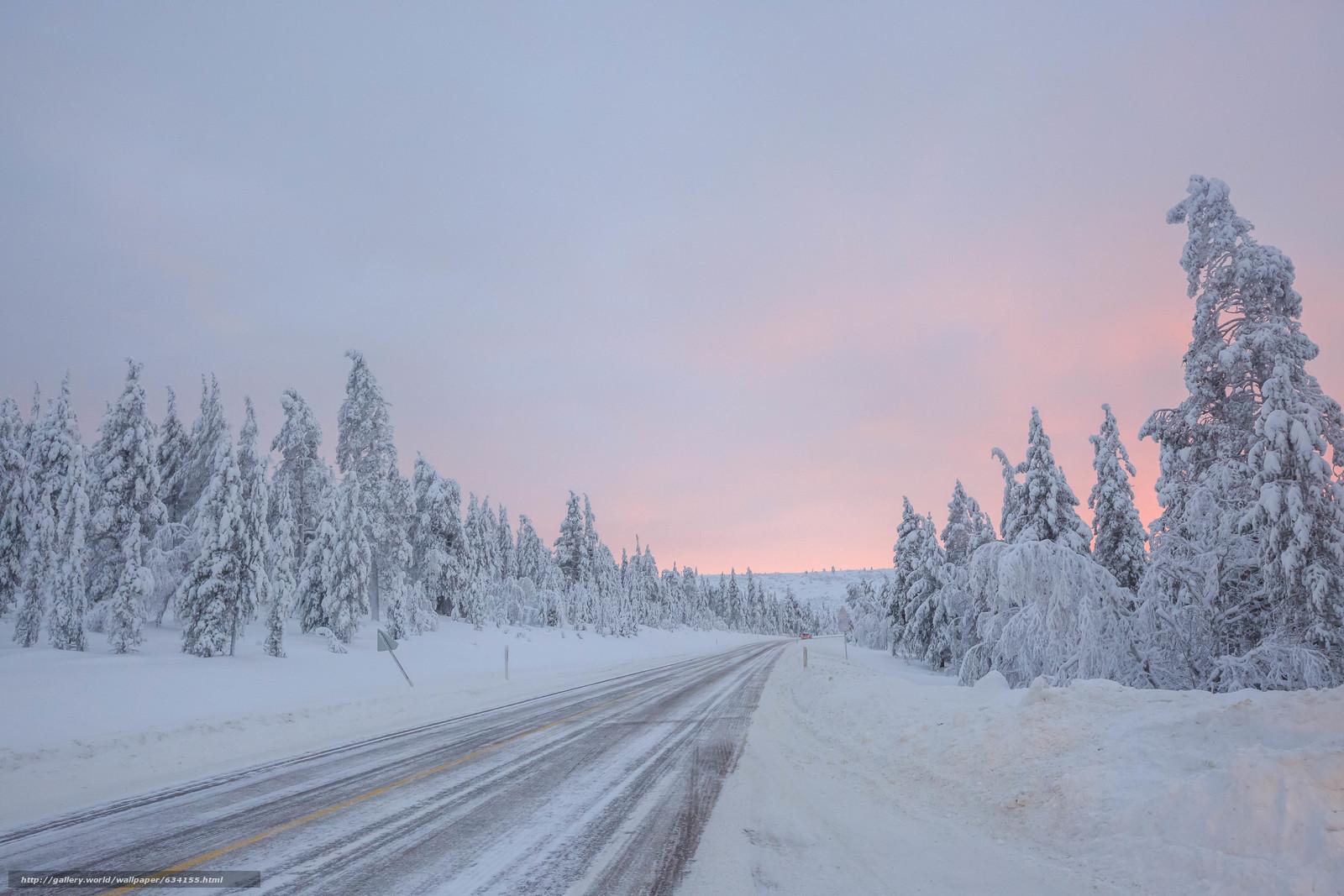 Tlcharger Fond d'ecran hiver,  route,  arbres,  coucher du soleil Fonds d'ecran gratuits pour votre rsolution du bureau 5760x3840 — image №634155