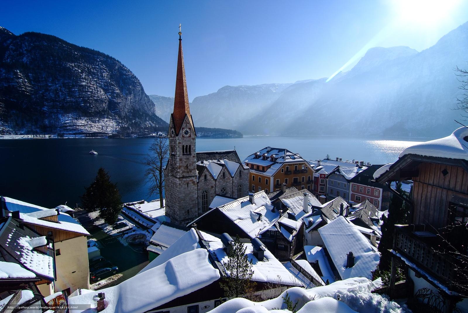 scaricare gli sfondi Hallstatt,  Austria,  Lago di Hallstatt,  Alpi Sfondi gratis per la risoluzione del desktop 4057x2714 — immagine №634211