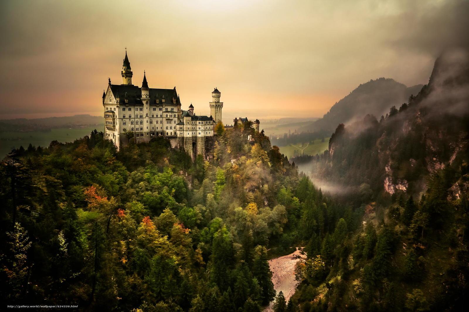 Скачать обои Neuschwanstein Castle,  Bavaria,  Germany,  Замок Нойшванштайн бесплатно для рабочего стола в разрешении 2048x1365 — картинка №634339